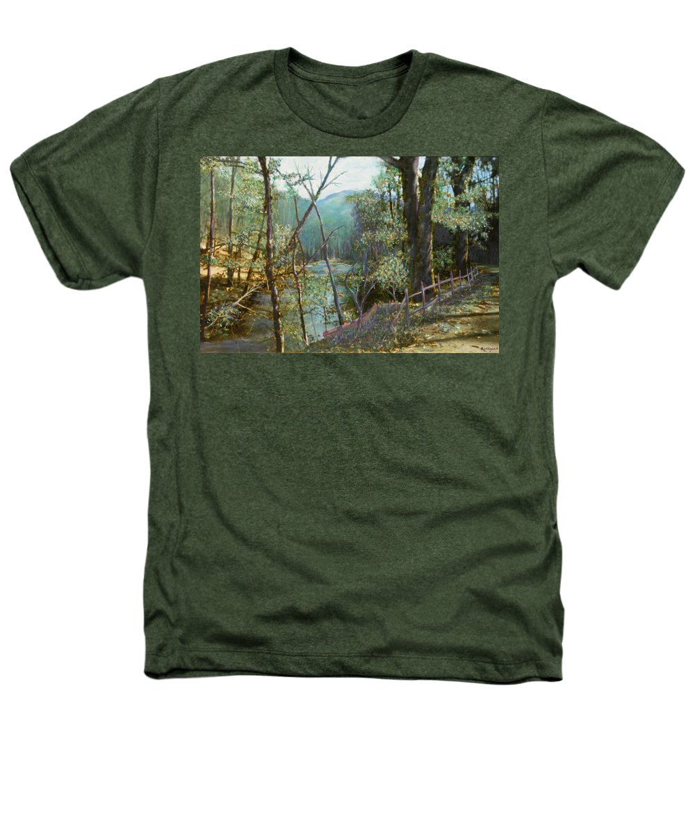 River; Trees; Landscape Heathers T-Shirt featuring the painting Old Man River by Ben Kiger