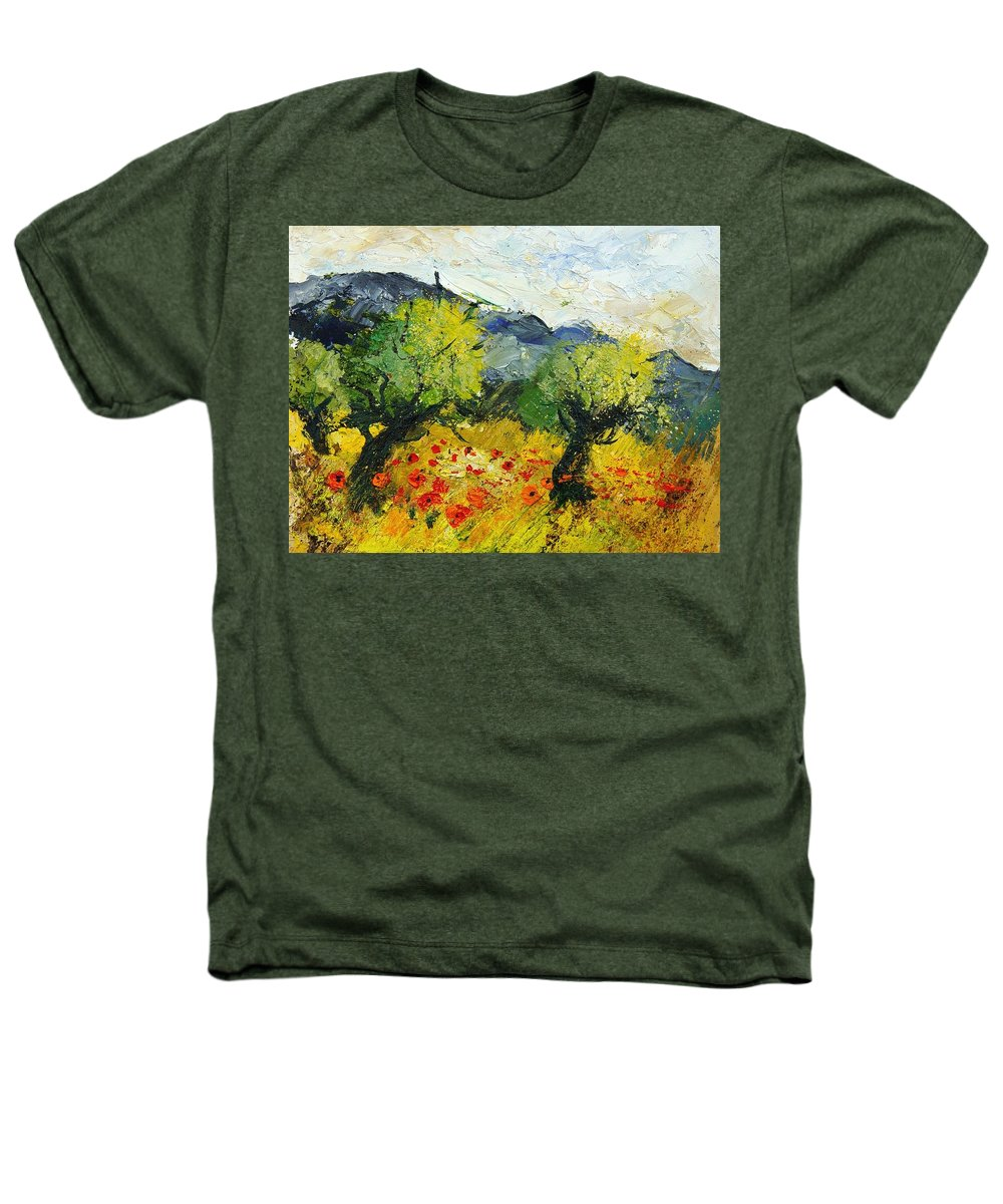 Flowers Heathers T-Shirt featuring the painting Olive Trees And Poppies by Pol Ledent