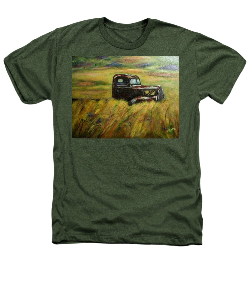 Vintage Truck Heathers T-Shirt featuring the painting Out To Pasture by Gail Kirtz