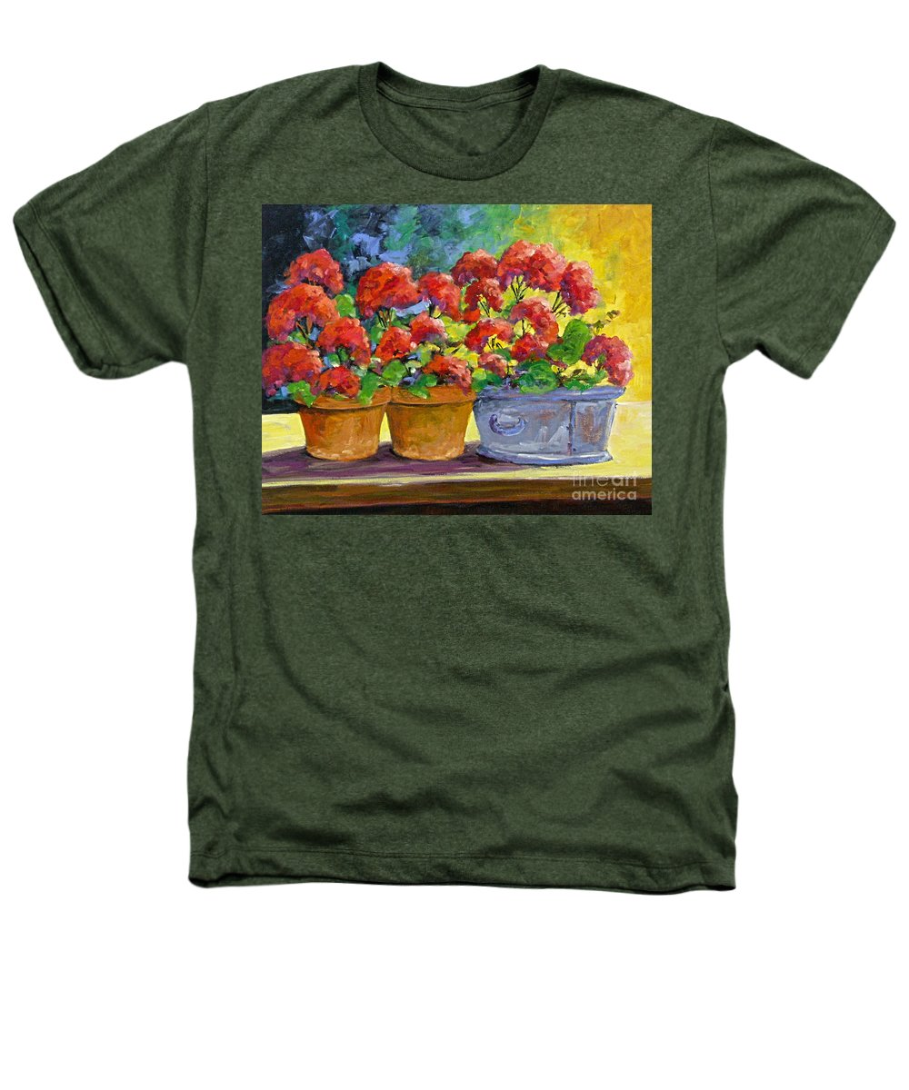 Still Life; Geraniums; Flowers; Terra Cotta; Red; Blue; Yellow; Green; Pranke; Heathers T-Shirt featuring the painting Passion In Red by Richard T Pranke