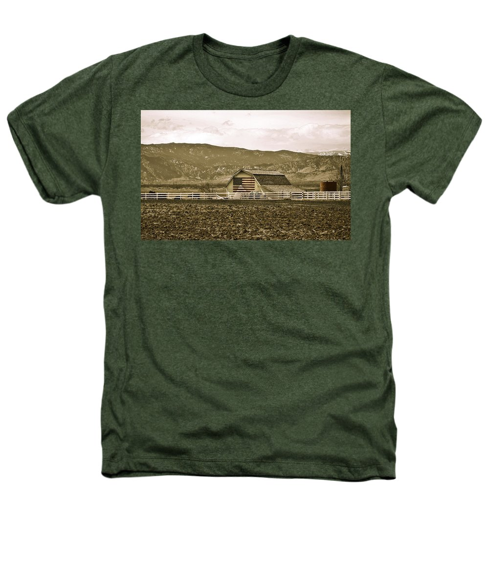 Americana Heathers T-Shirt featuring the photograph Patriotism And Barn by Marilyn Hunt