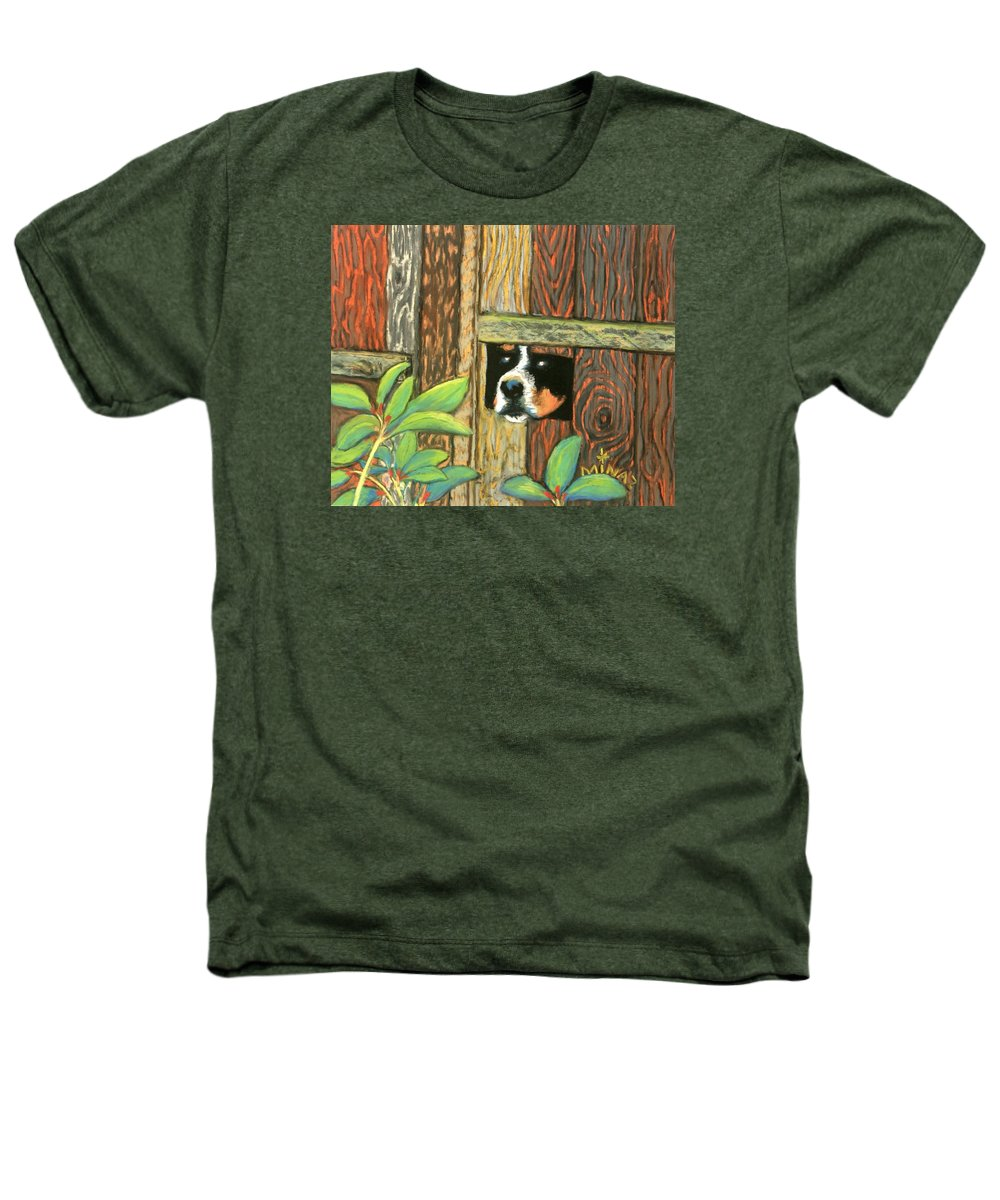 Dog Heathers T-Shirt featuring the painting Peek-a-boo Fence by Minaz Jantz