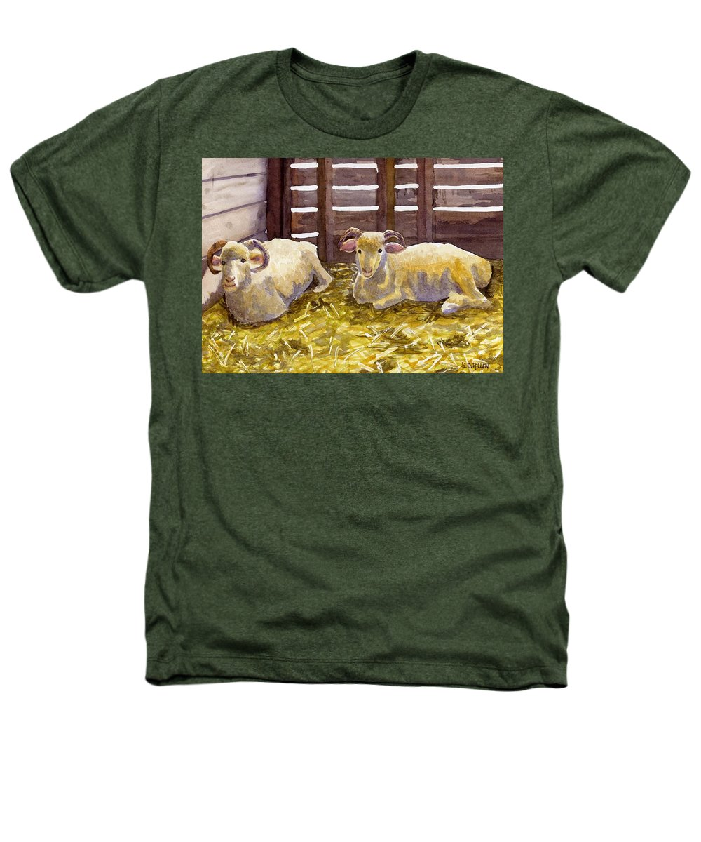 Sheep Heathers T-Shirt featuring the painting Pen Pals by Sharon E Allen