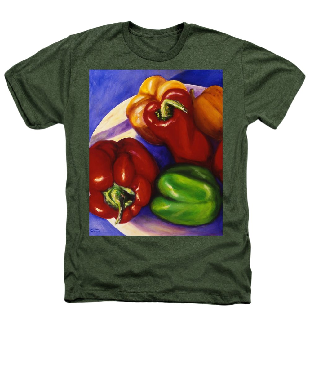 Still Life Peppers Heathers T-Shirt featuring the painting Peppers In The Round by Shannon Grissom