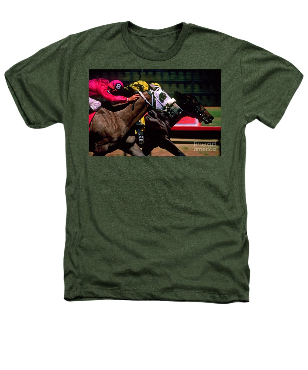 Horse Heathers T-Shirt featuring the photograph Photo Finish by Kathy McClure