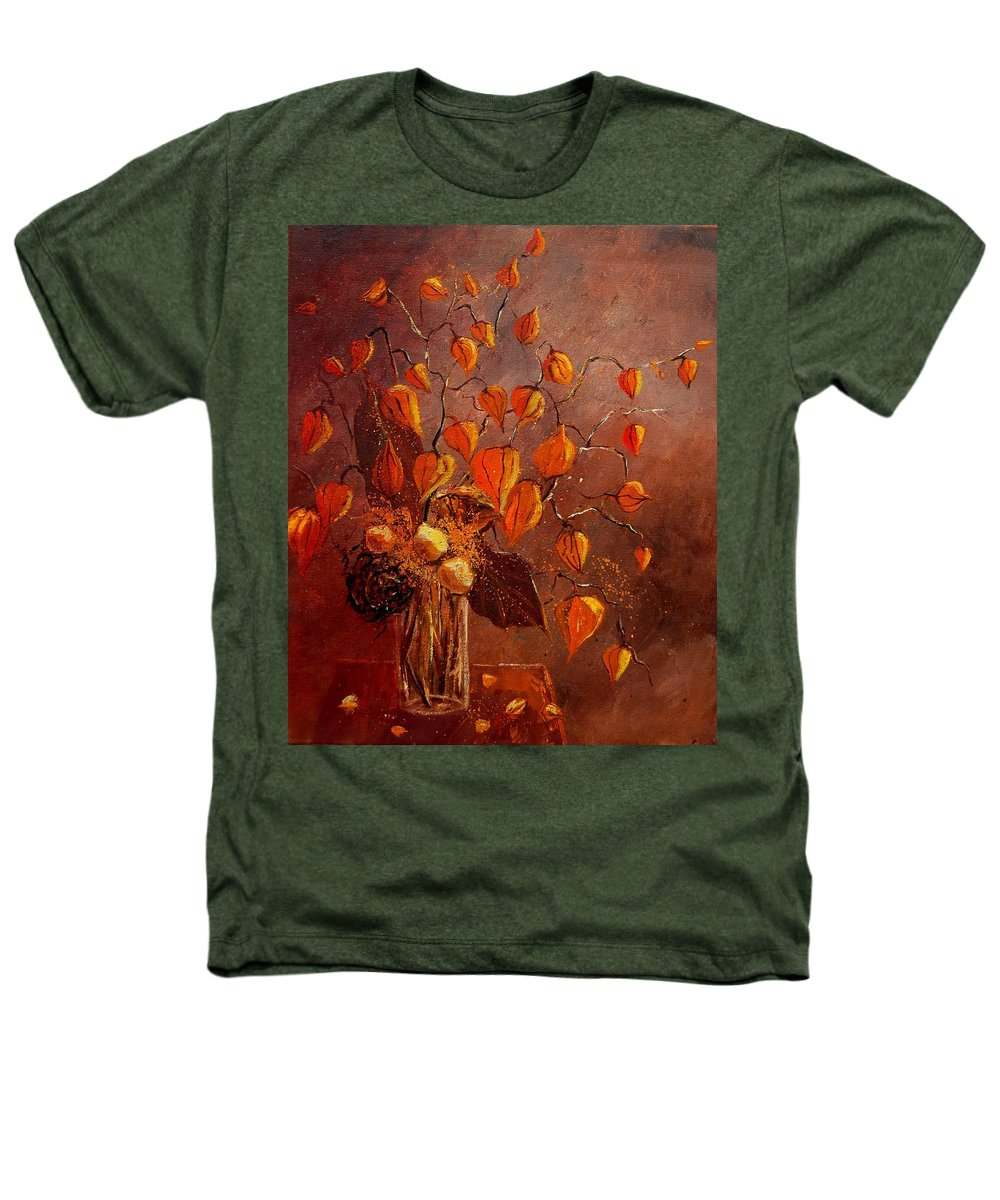 Poppies Heathers T-Shirt featuring the painting Physialis by Pol Ledent