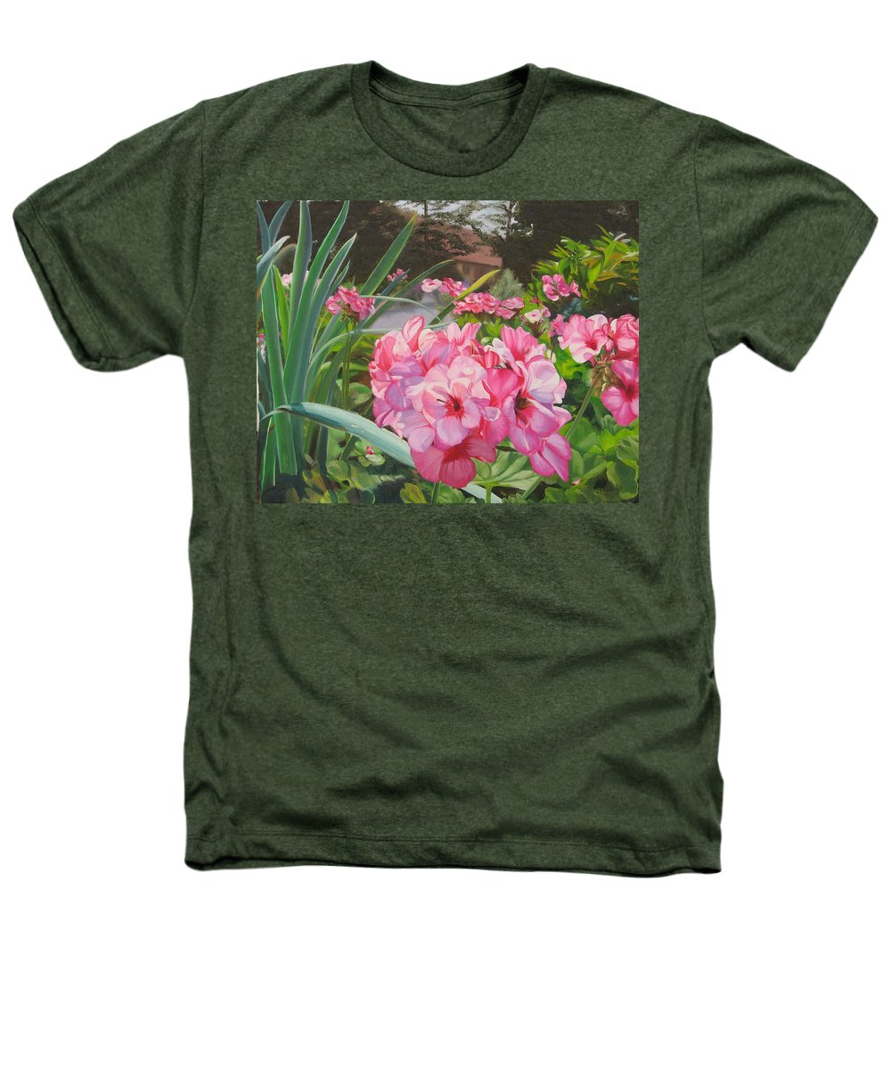 Pink Geraniums Heathers T-Shirt featuring the painting Pink Geraniums by Lea Novak