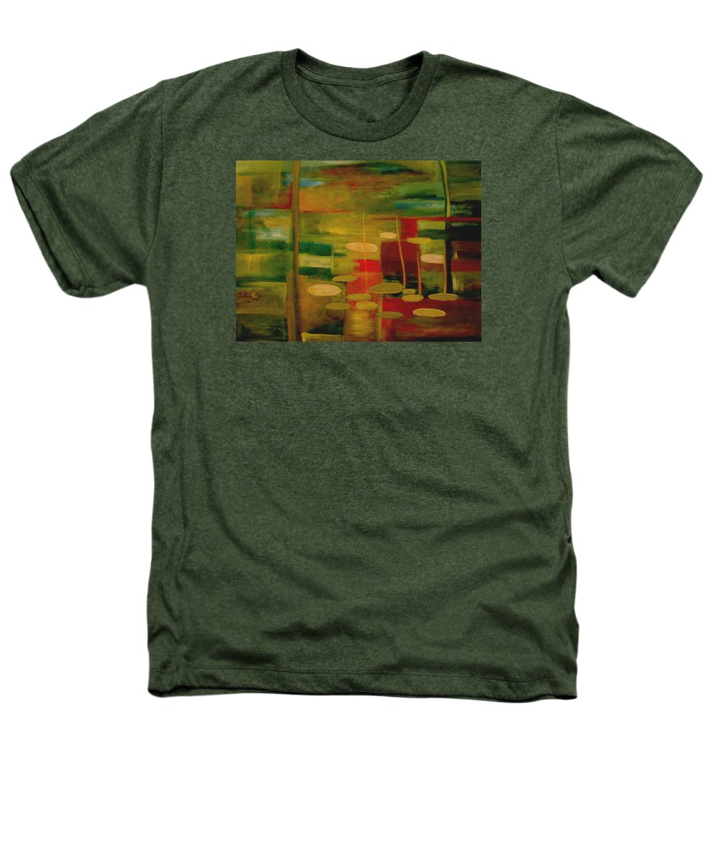 Pond Heathers T-Shirt featuring the painting Pond Reflections by Jun Jamosmos