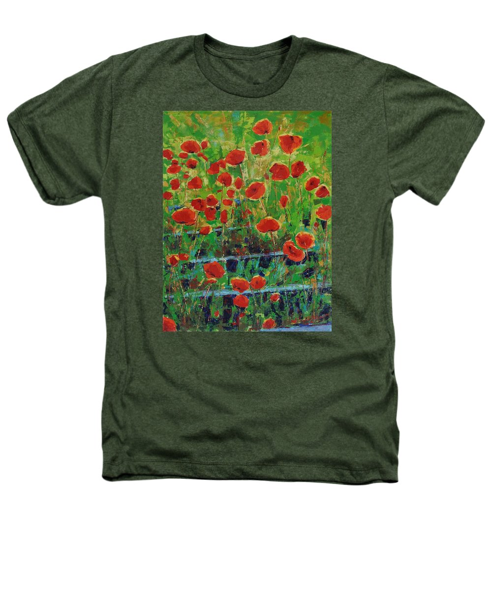 Poppies Heathers T-Shirt featuring the painting Poppies And Traverses 1 by Iliyan Bozhanov