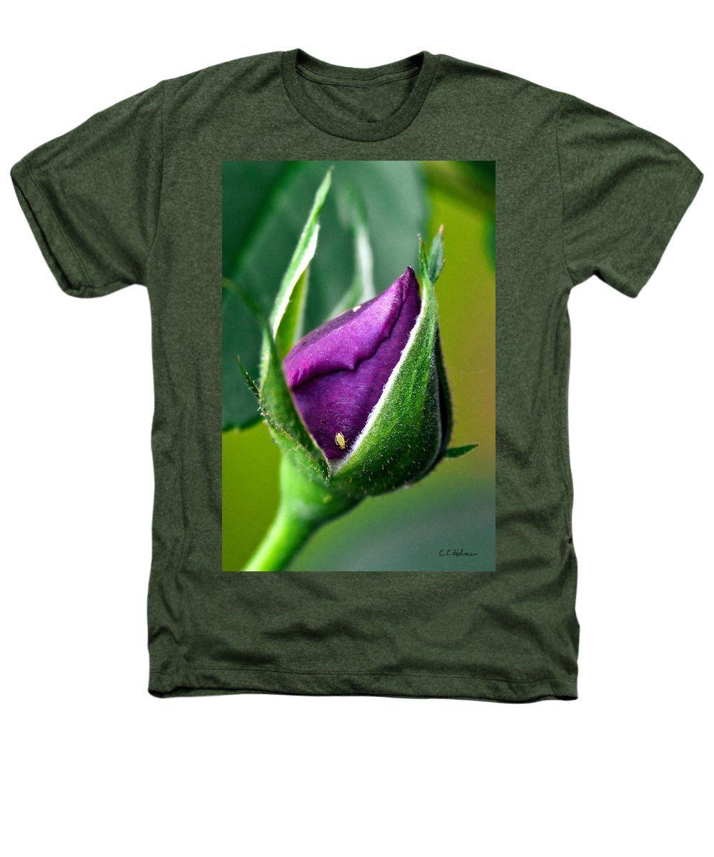 Rose Heathers T-Shirt featuring the photograph Purple Rose Bud by Christopher Holmes
