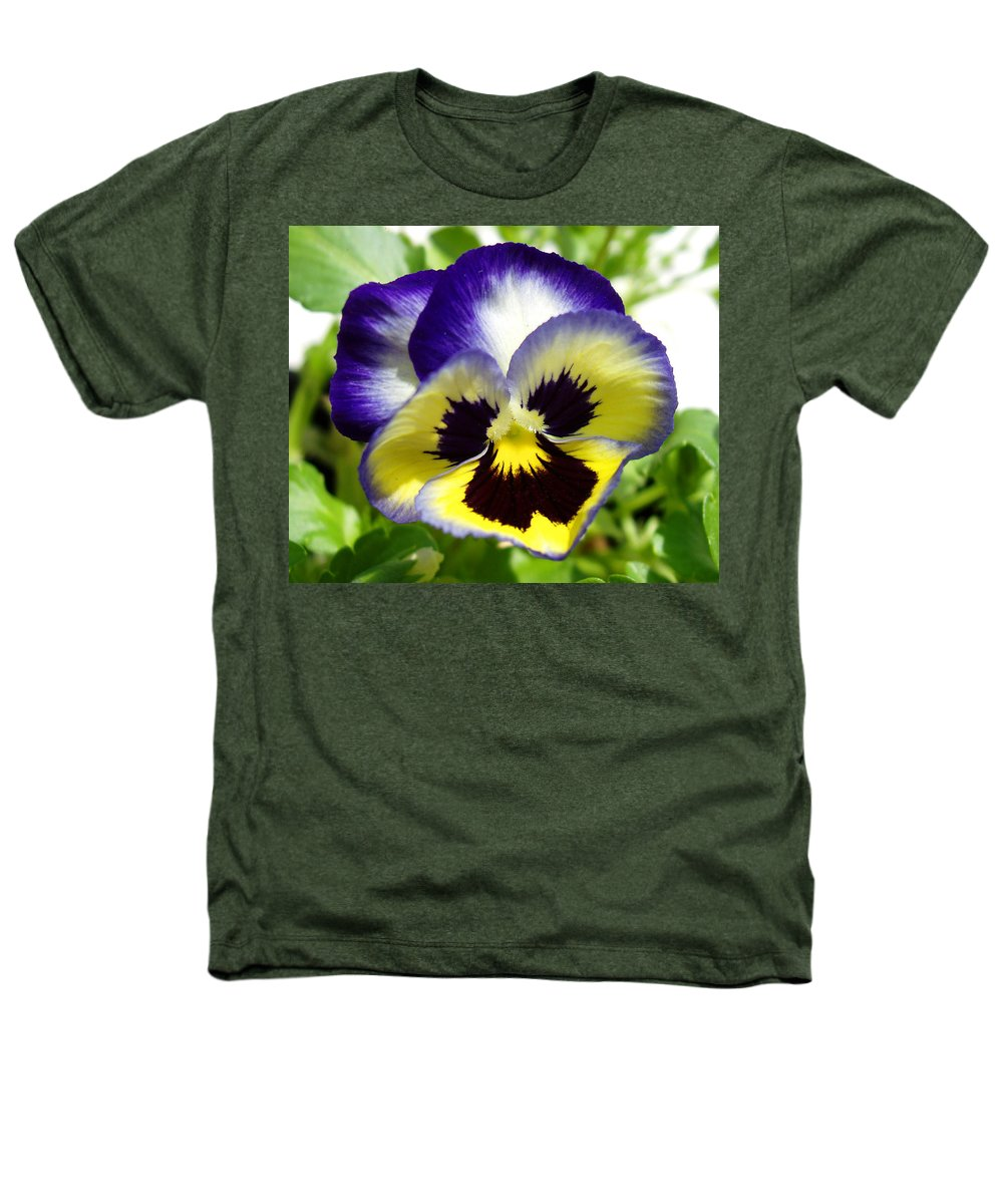 Pansy Heathers T-Shirt featuring the photograph Purple White And Yellow Pansy by Nancy Mueller