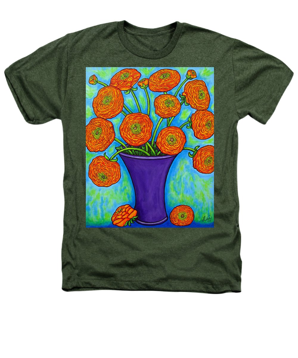 Green Heathers T-Shirt featuring the painting Radiant Ranunculus by Lisa Lorenz