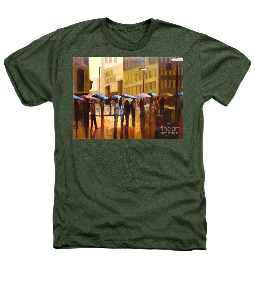 Cityscape Heathers T-Shirt featuring the painting Rain In Manhattan Number Seventeen by Tate Hamilton