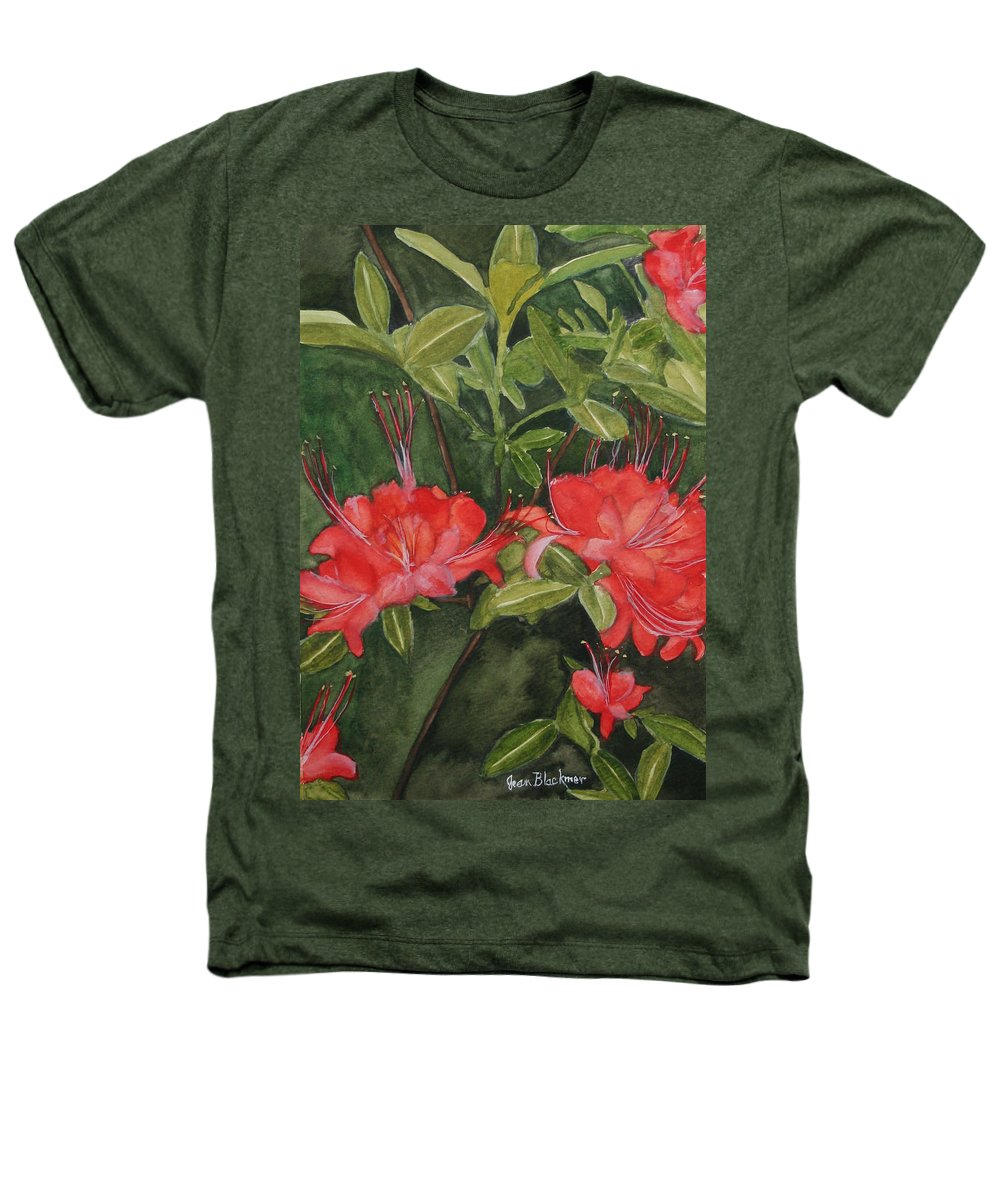 Flowers Heathers T-Shirt featuring the painting Red Blooms On The Parkway by Jean Blackmer