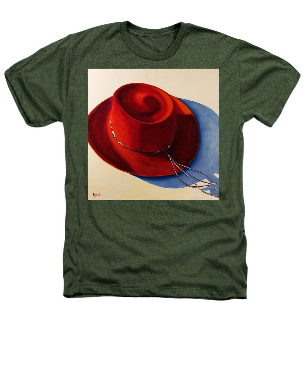 Red Hat Heathers T-Shirt featuring the painting Red Hat by Shannon Grissom