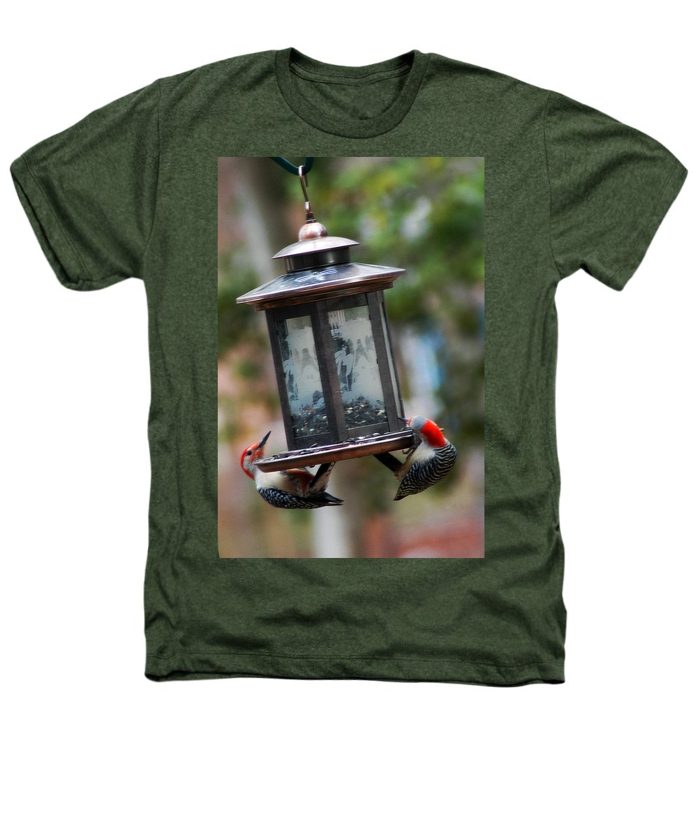 Clay Heathers T-Shirt featuring the photograph Red Head Wood Peckers On Feeder by Clayton Bruster