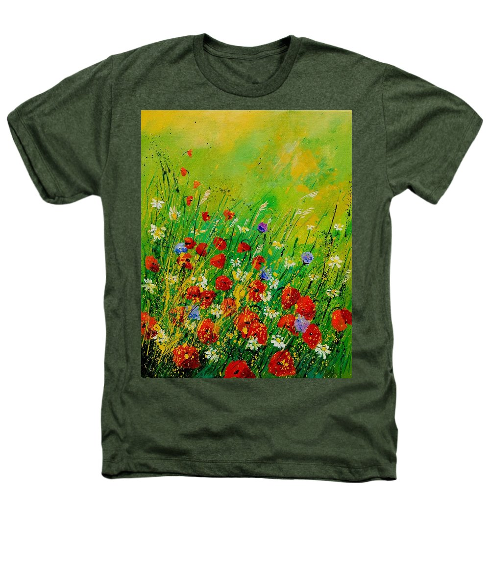 Flowers Heathers T-Shirt featuring the painting Red Poppies 450708 by Pol Ledent