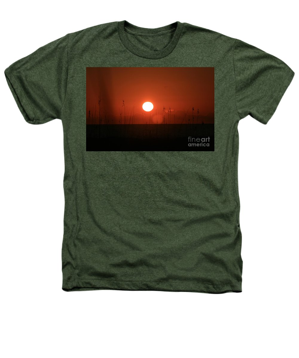 Sunset Heathers T-Shirt featuring the photograph Red Sunset And Grasses by Nadine Rippelmeyer