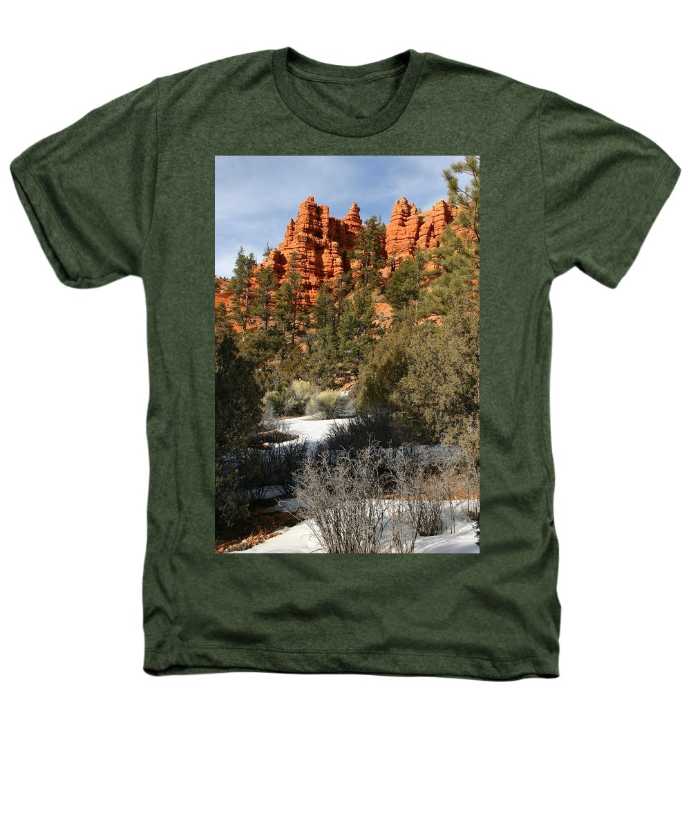 Red Rocks Heathers T-Shirt featuring the photograph Redrock Winter by Nelson Strong