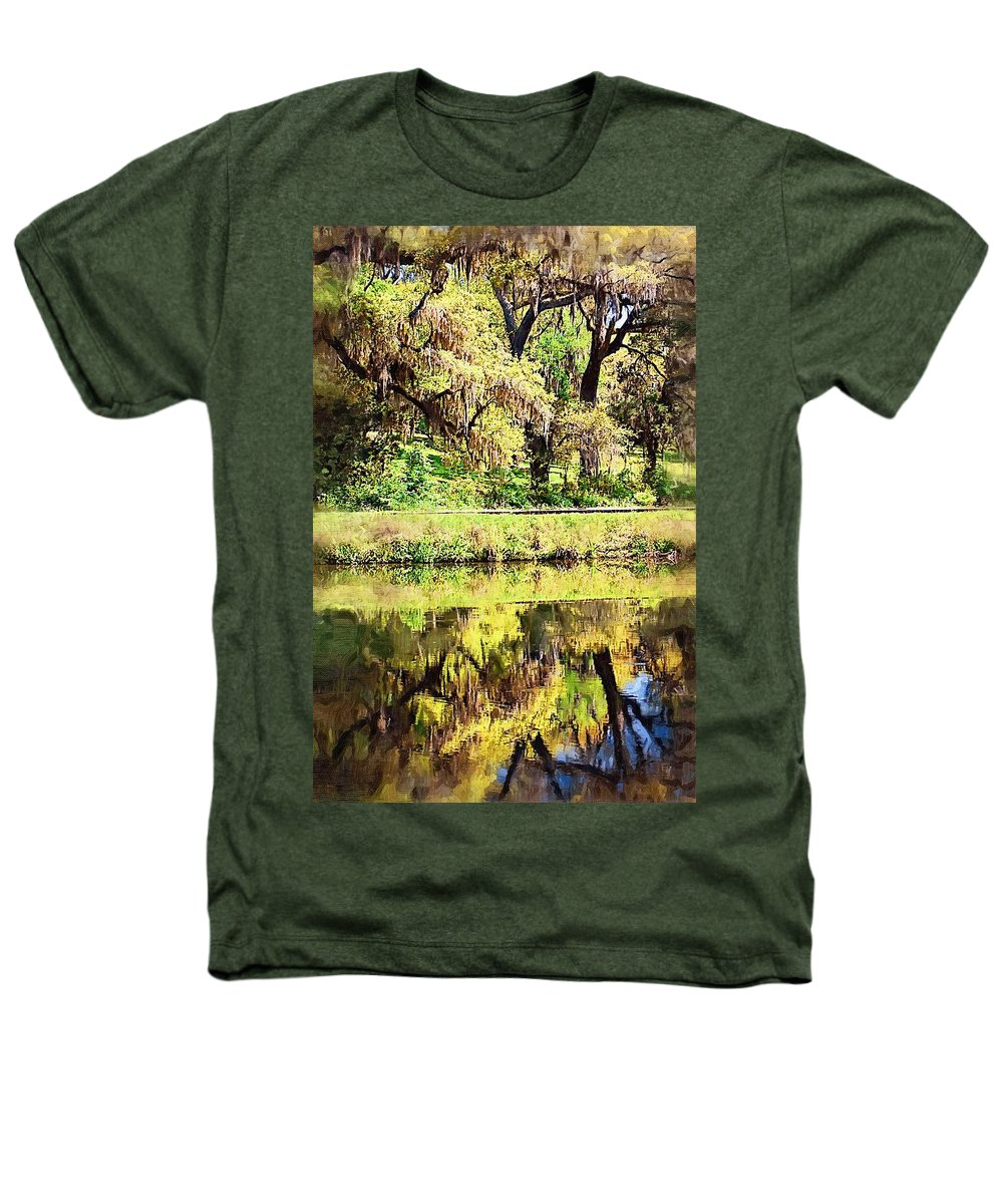 Landscape Heathers T-Shirt featuring the photograph Reflective Live Oaks by Donna Bentley