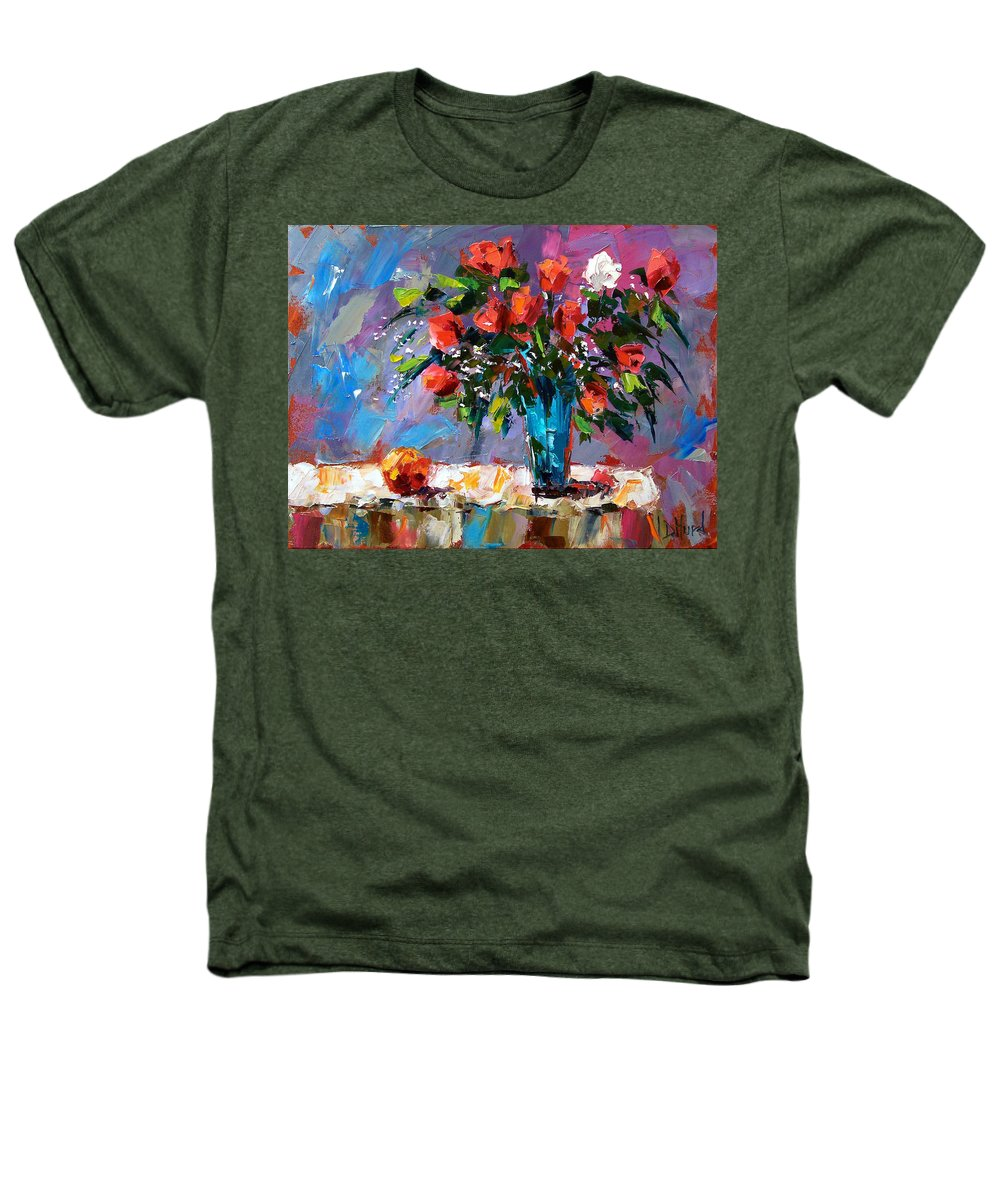 Flowers Heathers T-Shirt featuring the painting Roses And A Peach by Debra Hurd