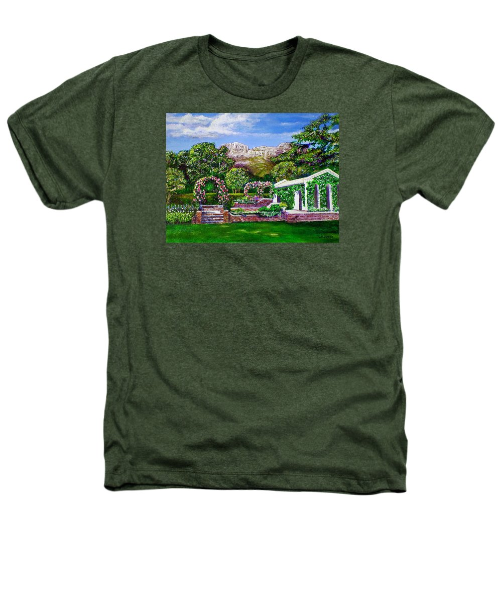 Landscape Heathers T-Shirt featuring the painting Rozannes Garden by Michael Durst