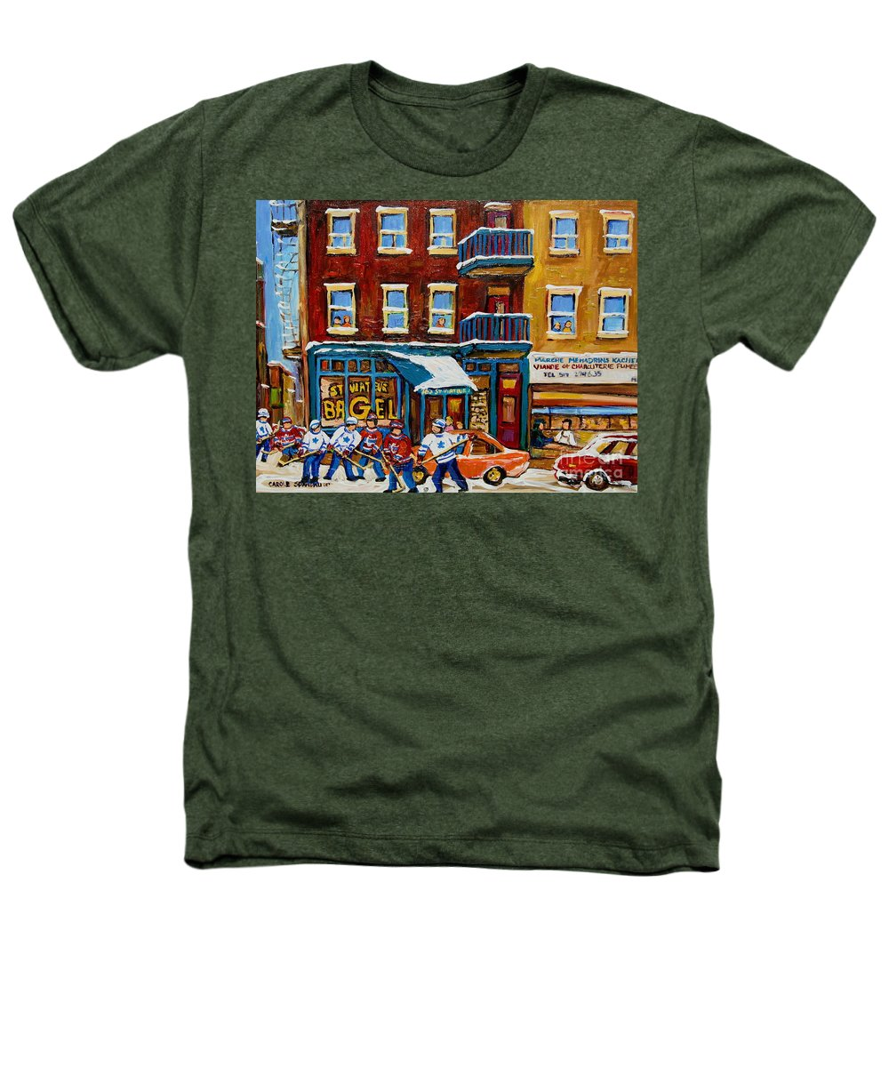 Montreal Heathers T-Shirt featuring the painting Saint Viateur Bagel With Hockey by Carole Spandau