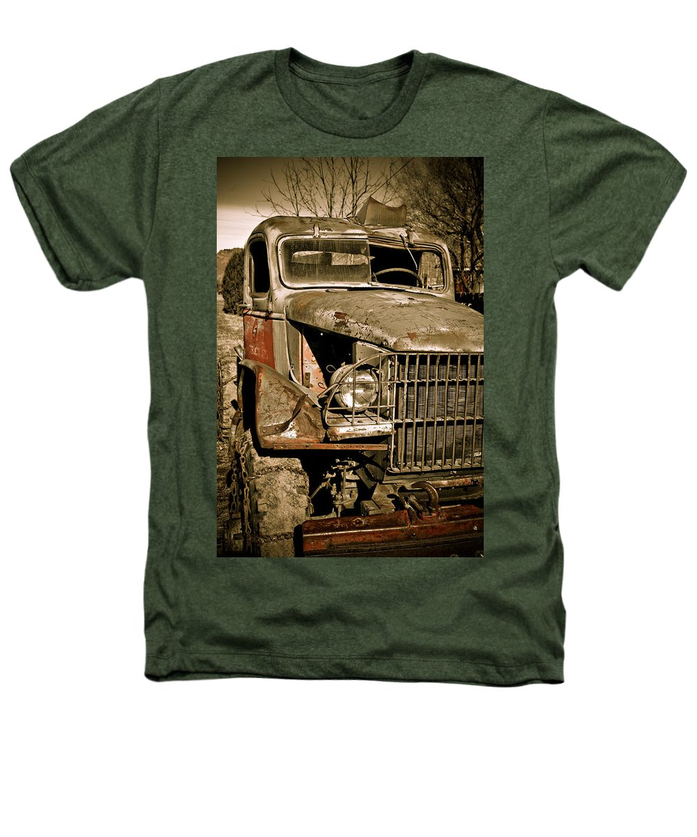Old Vintage Antique Truck Worn Western Heathers T-Shirt featuring the photograph Seen Better Days by Marilyn Hunt