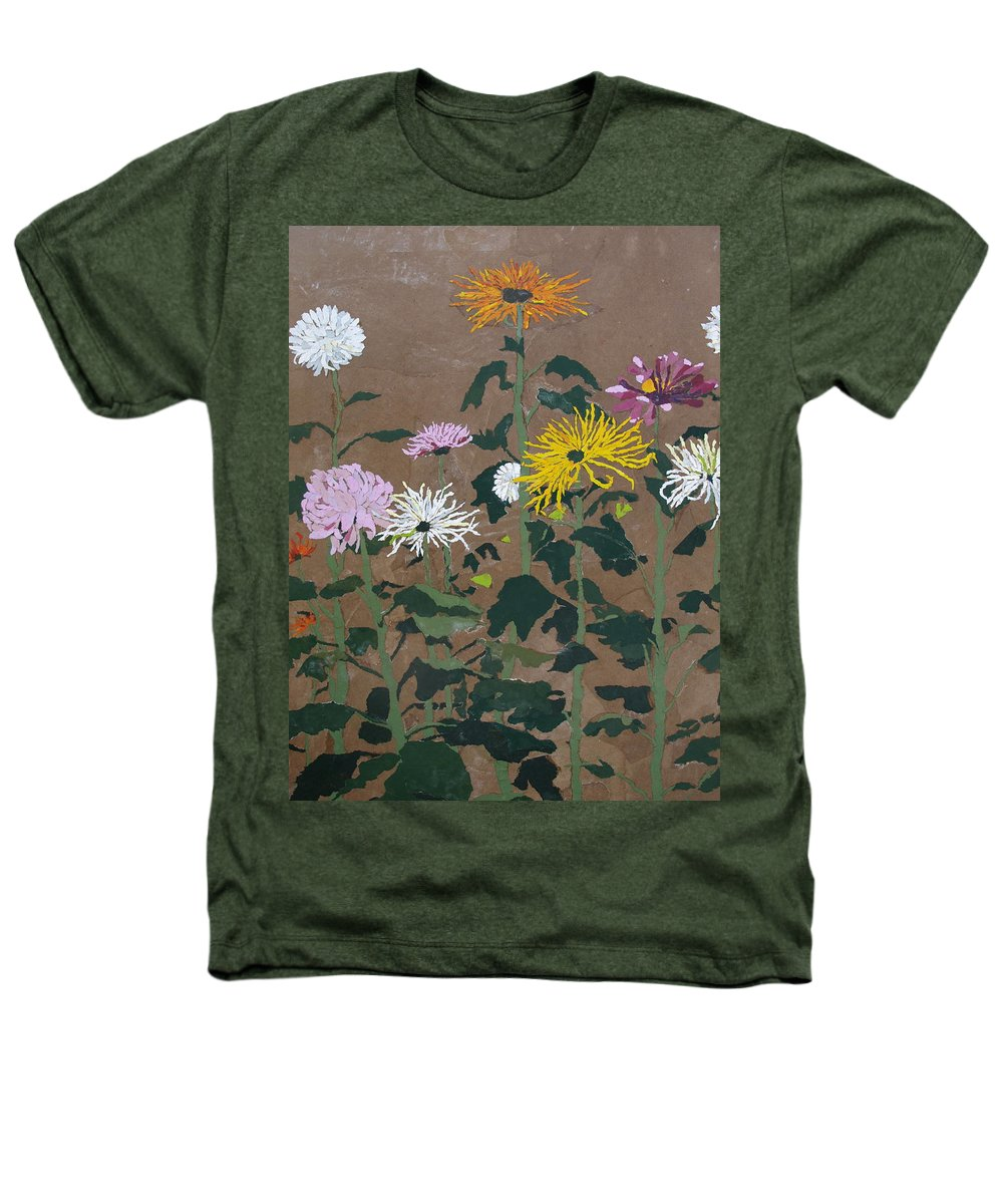 Collage Heathers T-Shirt featuring the painting Smith's Giant Chrysanthemums by Leah Tomaino