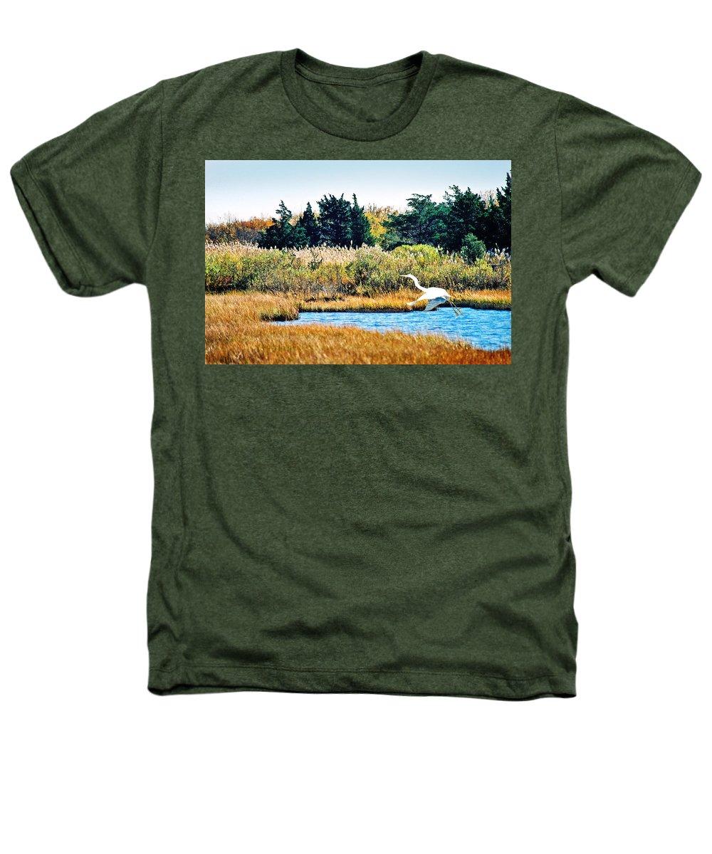 Landscape Heathers T-Shirt featuring the photograph Snowy Egret-island Beach State Park N.j. by Steve Karol