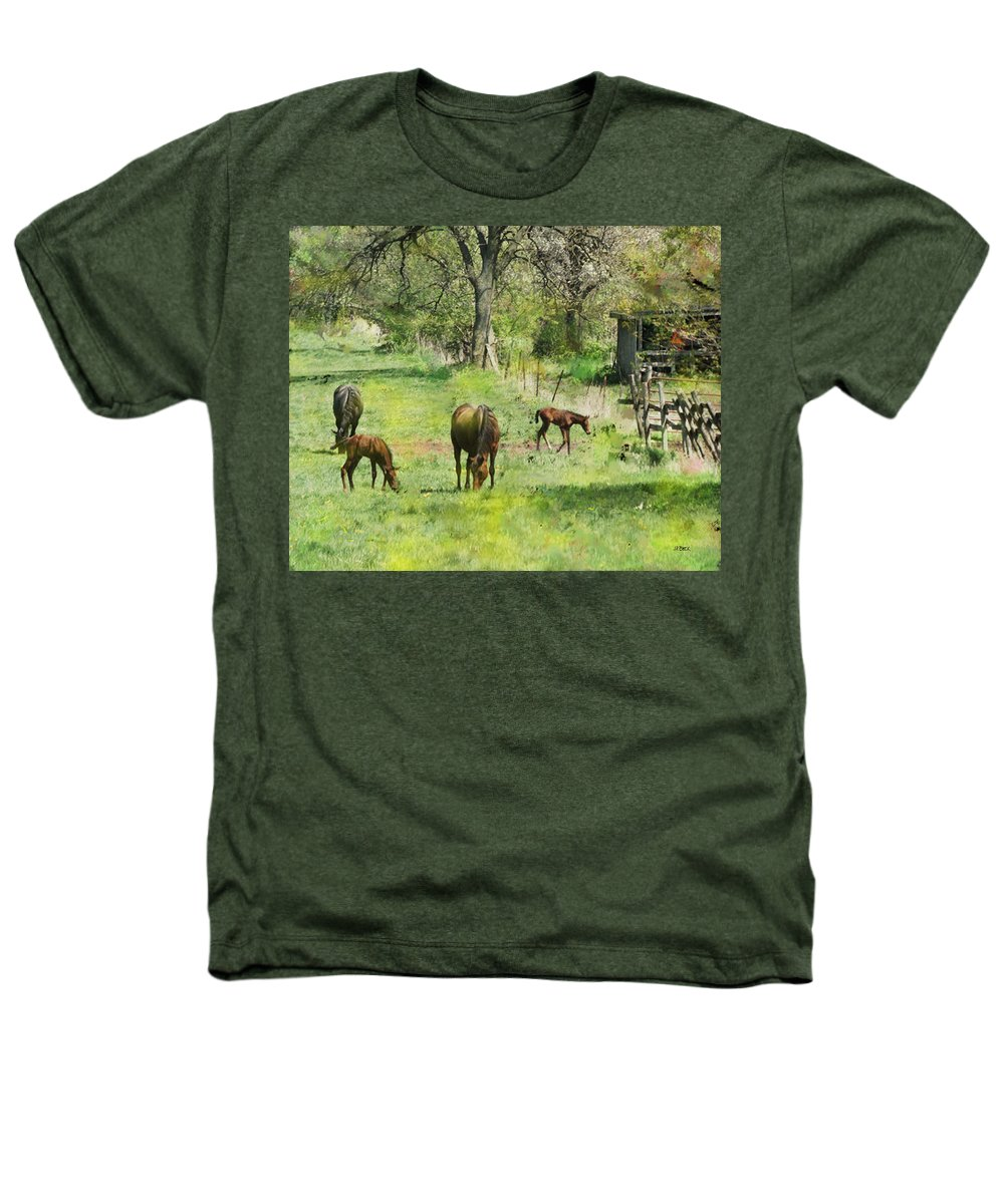 Spring Colts Heathers T-Shirt featuring the digital art Spring Colts by John Beck