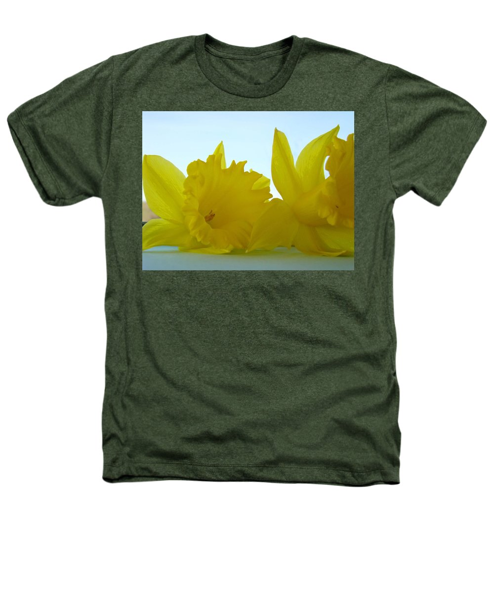 �daffodils Artwork� Heathers T-Shirt featuring the photograph Spring Daffodils Flowers Art Prints Blue Skies by Baslee Troutman