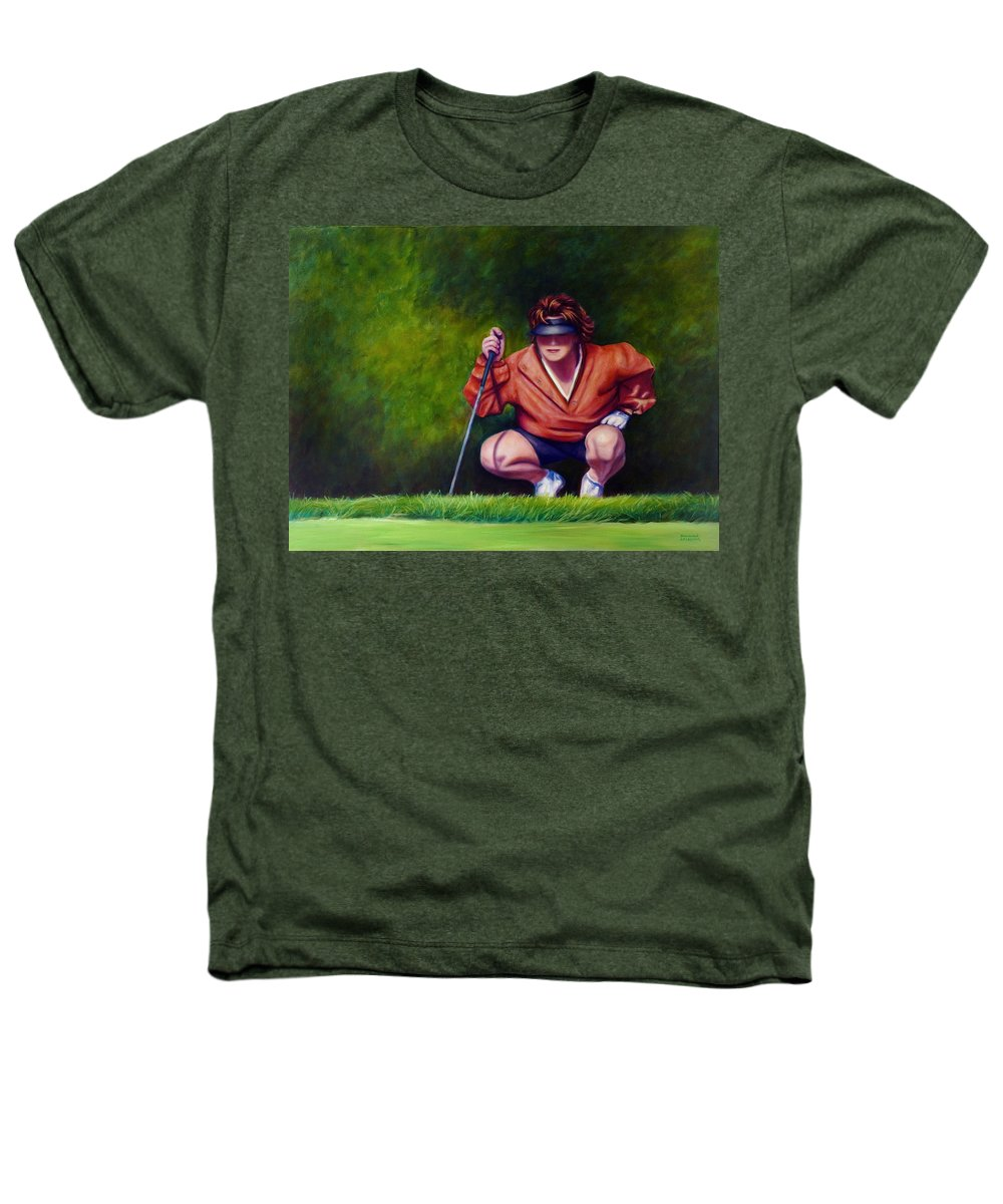 Golfer Heathers T-Shirt featuring the painting Straightshot by Shannon Grissom
