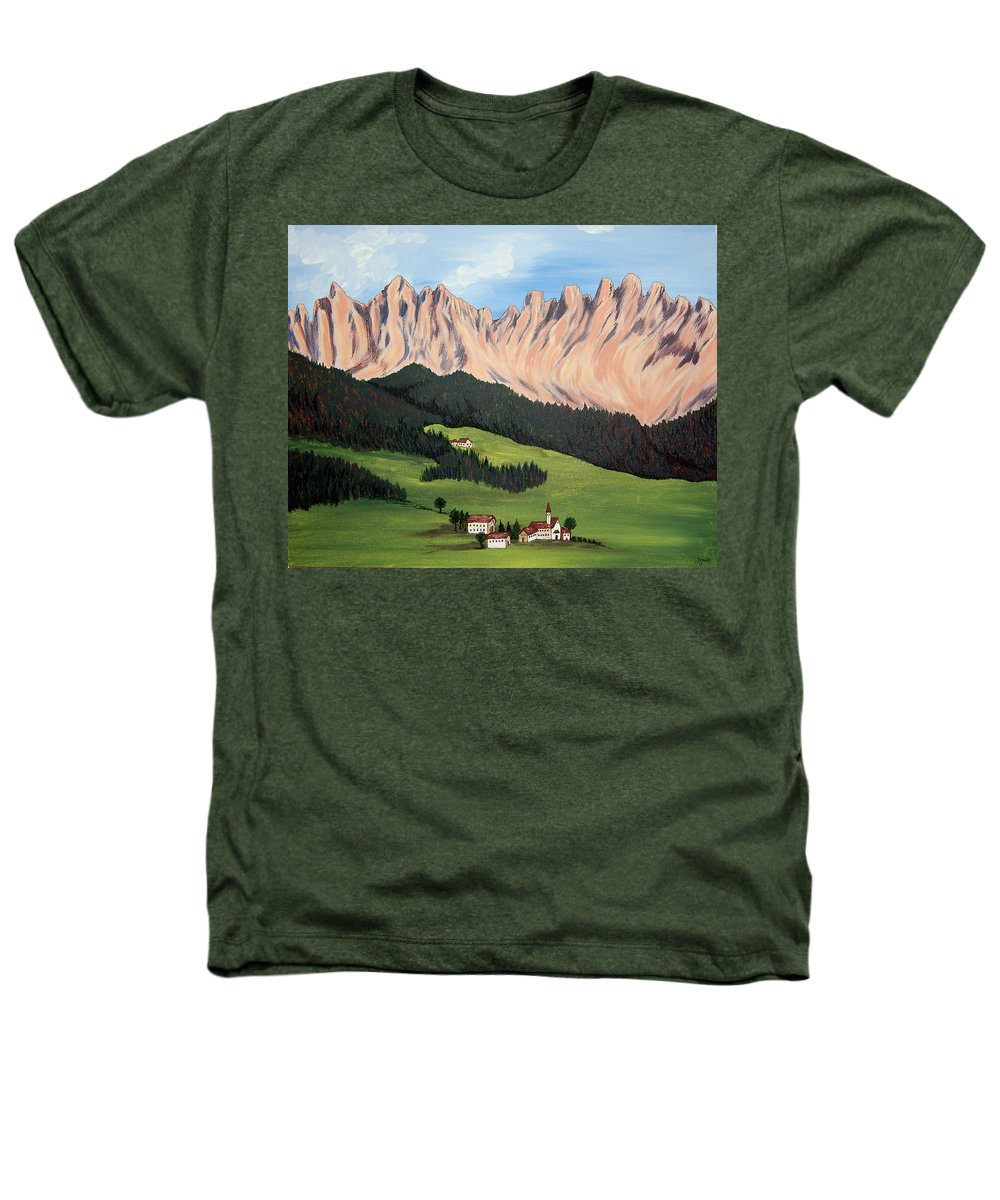 Landscape Heathers T-Shirt featuring the painting Summer In Switzerland by Marco Morales