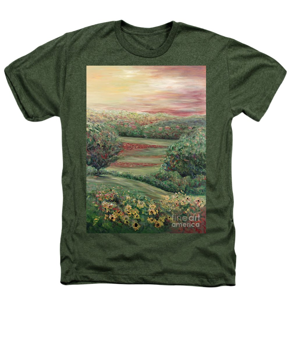 Landscape Heathers T-Shirt featuring the painting Summer In Tuscany by Nadine Rippelmeyer