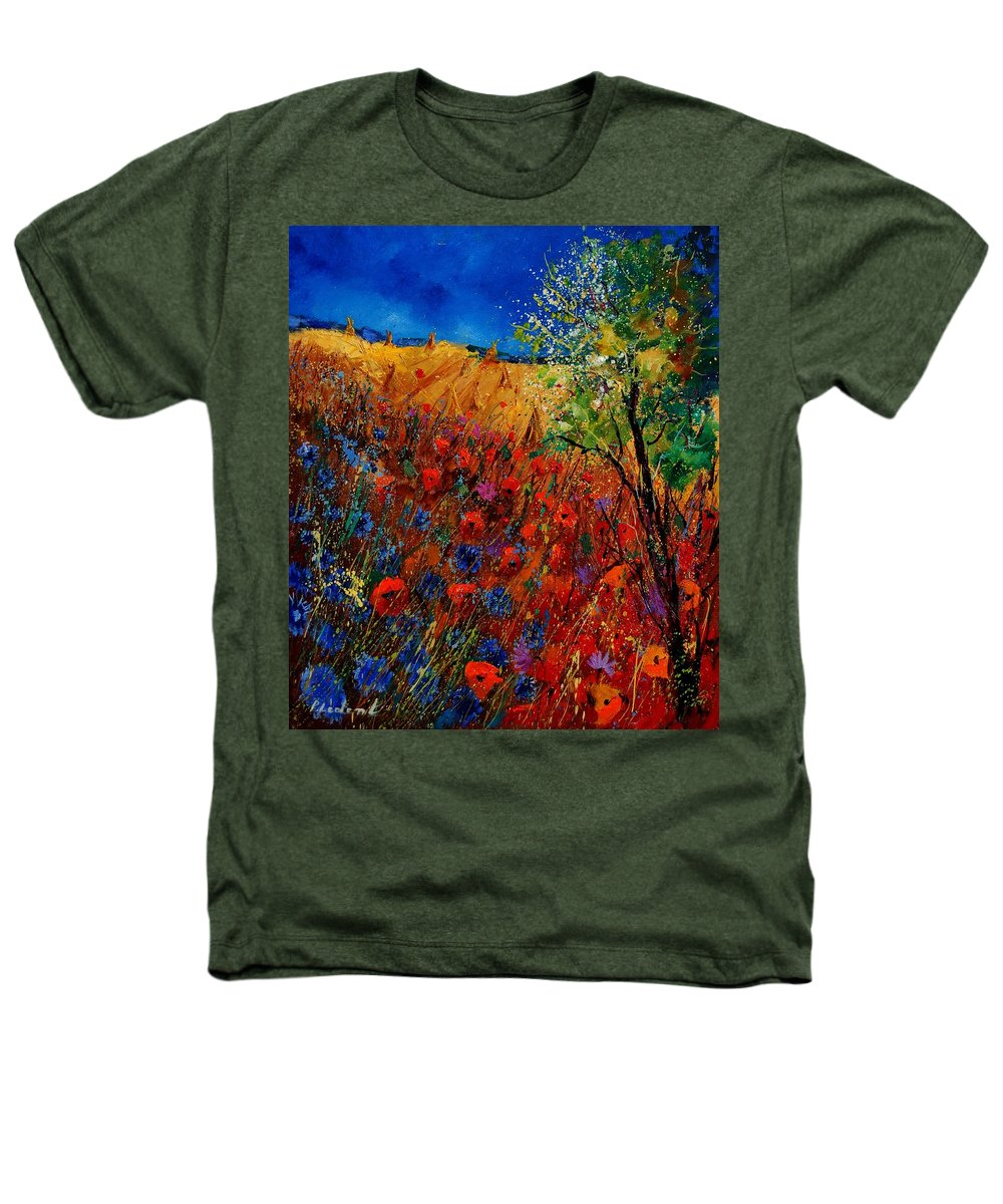 Flowers Heathers T-Shirt featuring the painting Summer Landscape With Poppies by Pol Ledent
