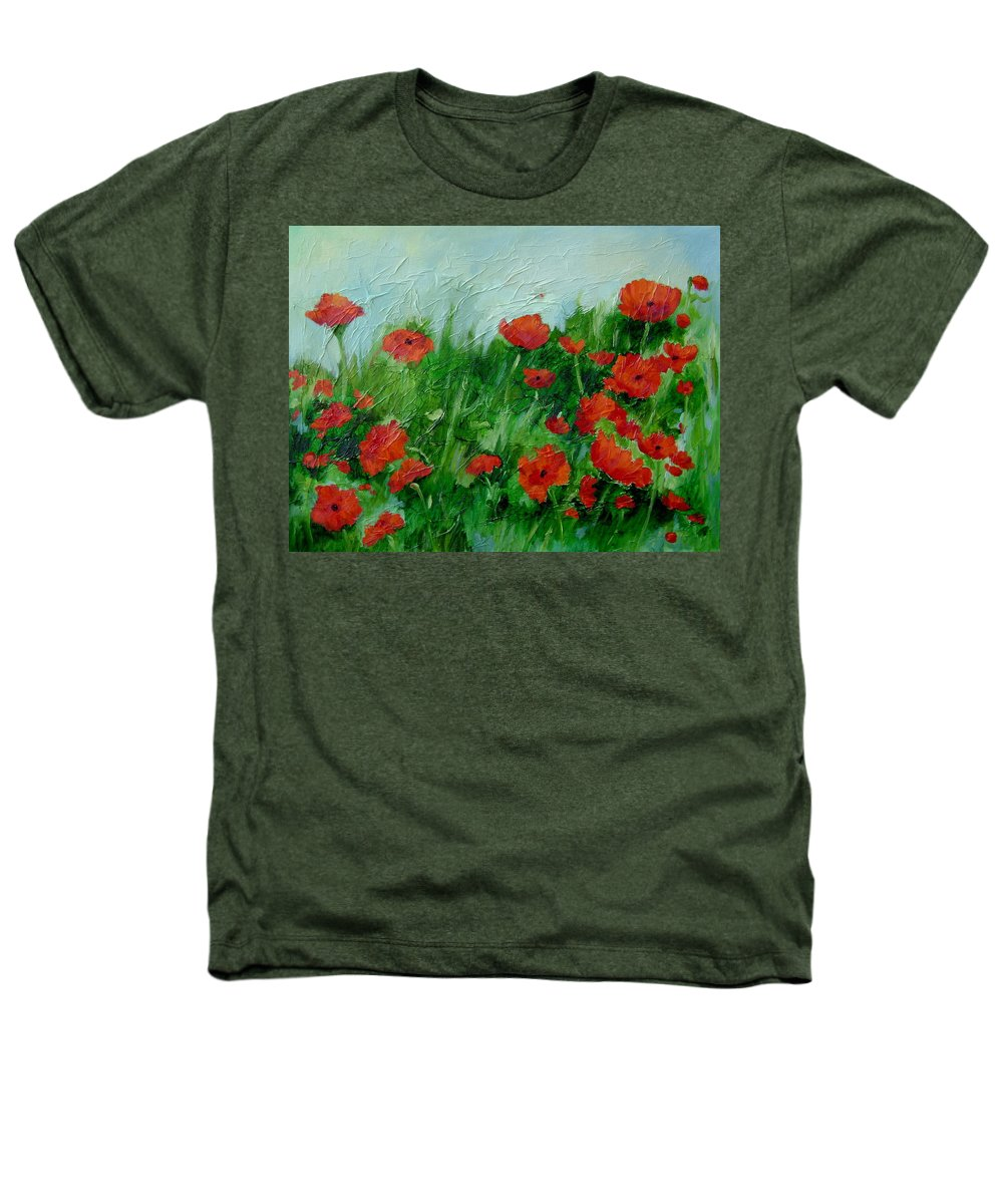 Red Poppies Heathers T-Shirt featuring the painting Summer Poppies by Ginger Concepcion