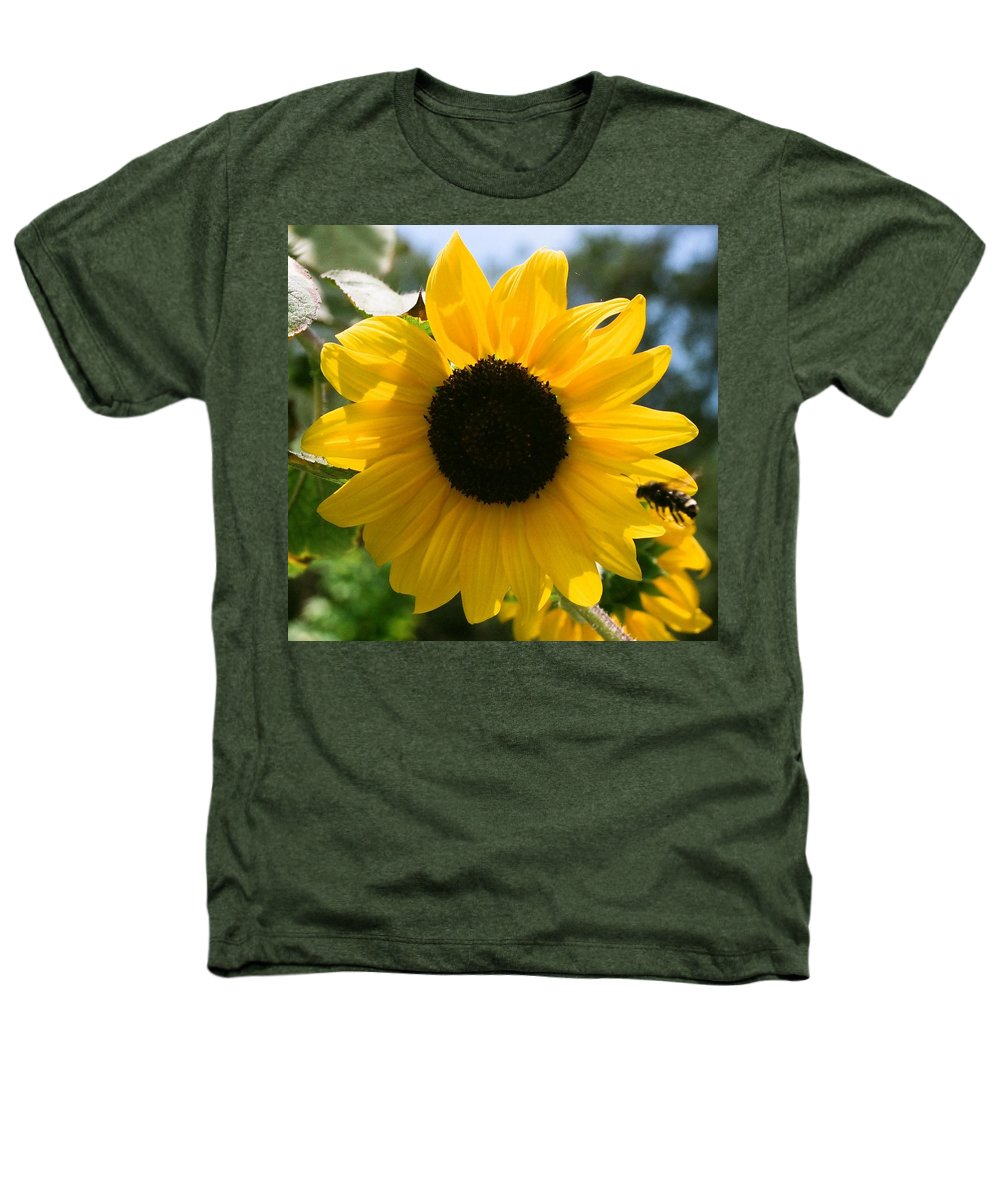 Flower Heathers T-Shirt featuring the photograph Sunflower With Bee by Dean Triolo