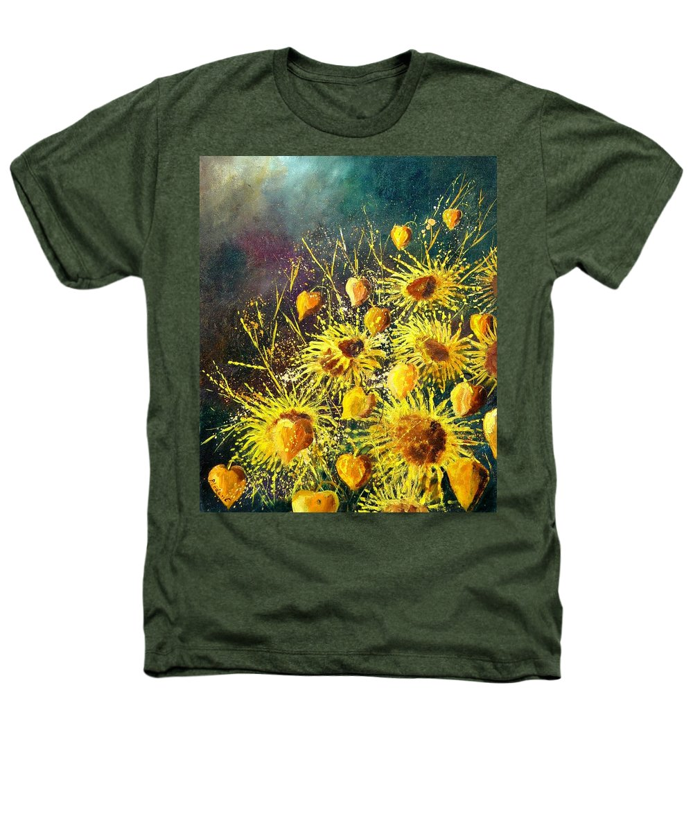 Flowers Heathers T-Shirt featuring the painting Sunflowers by Pol Ledent