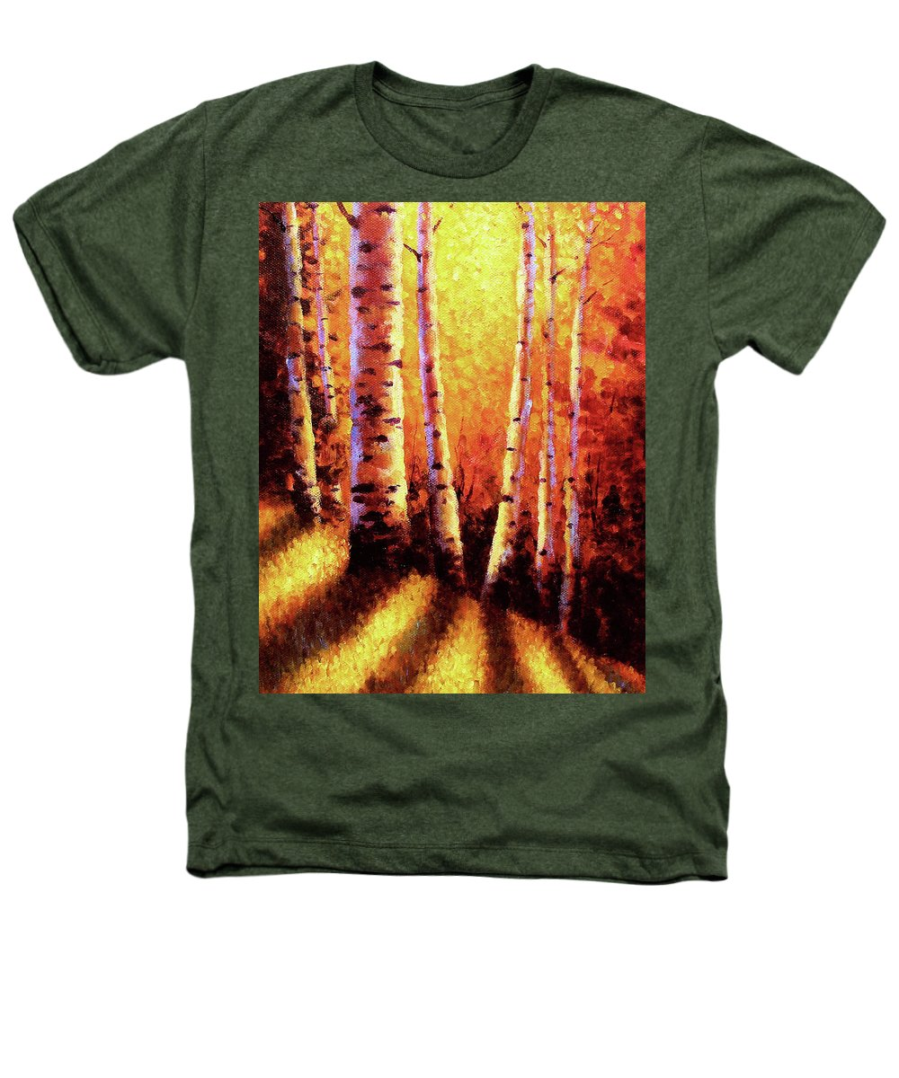 Sunlight Heathers T-Shirt featuring the painting Sunlight Through The Aspens by David G Paul