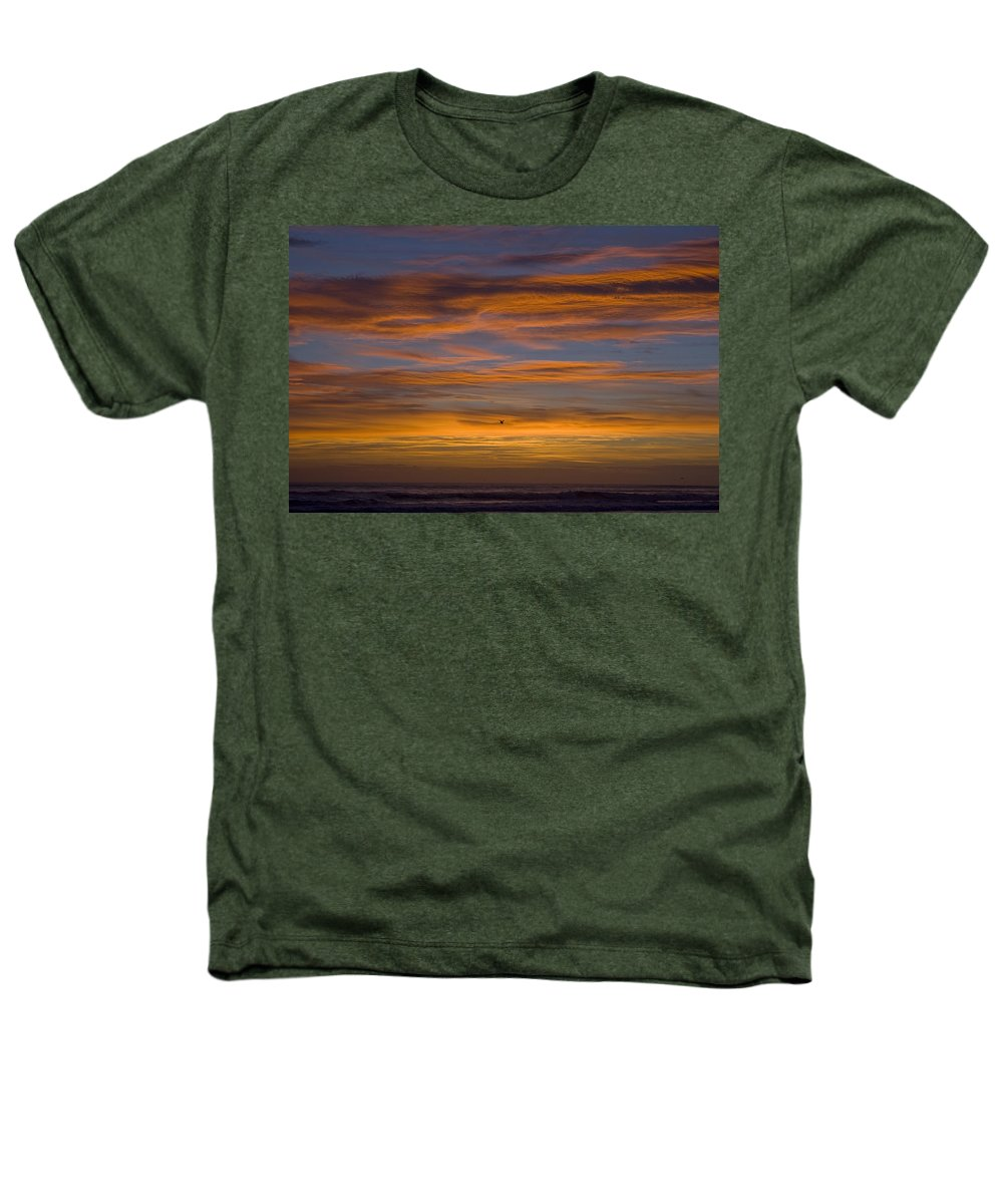 Sun Sunrise Cloud Clouds Morning Early Bright Orange Bird Flight Fly Flying Blue Ocean Water Waves Heathers T-Shirt featuring the photograph Sunrise by Andrei Shliakhau
