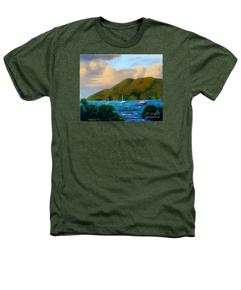 Sunset Heathers T-Shirt featuring the painting Sunset On Cruz Bay by Laurie Morgan