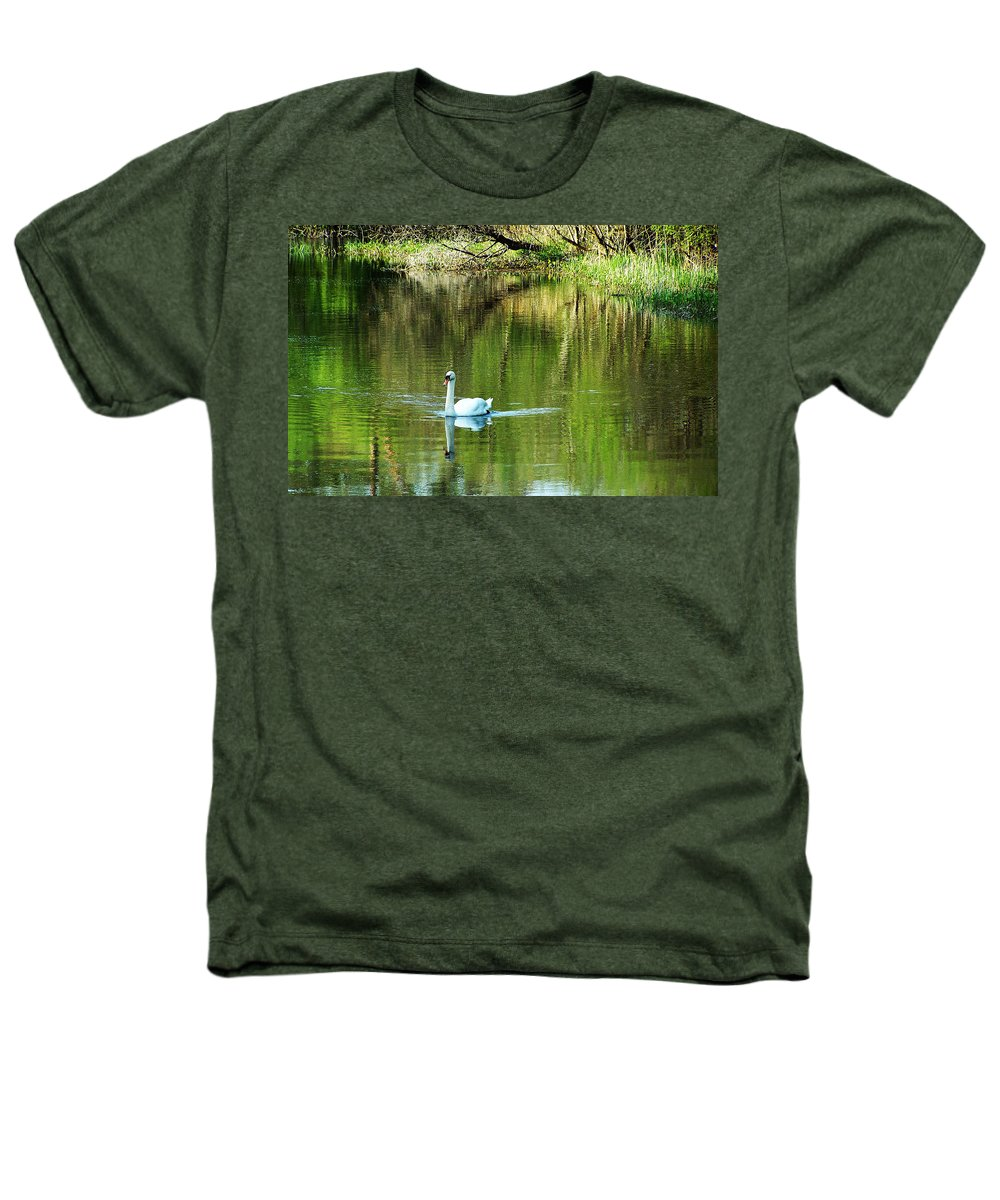 Irish Heathers T-Shirt featuring the photograph Swan On The Cong River Cong Ireland by Teresa Mucha