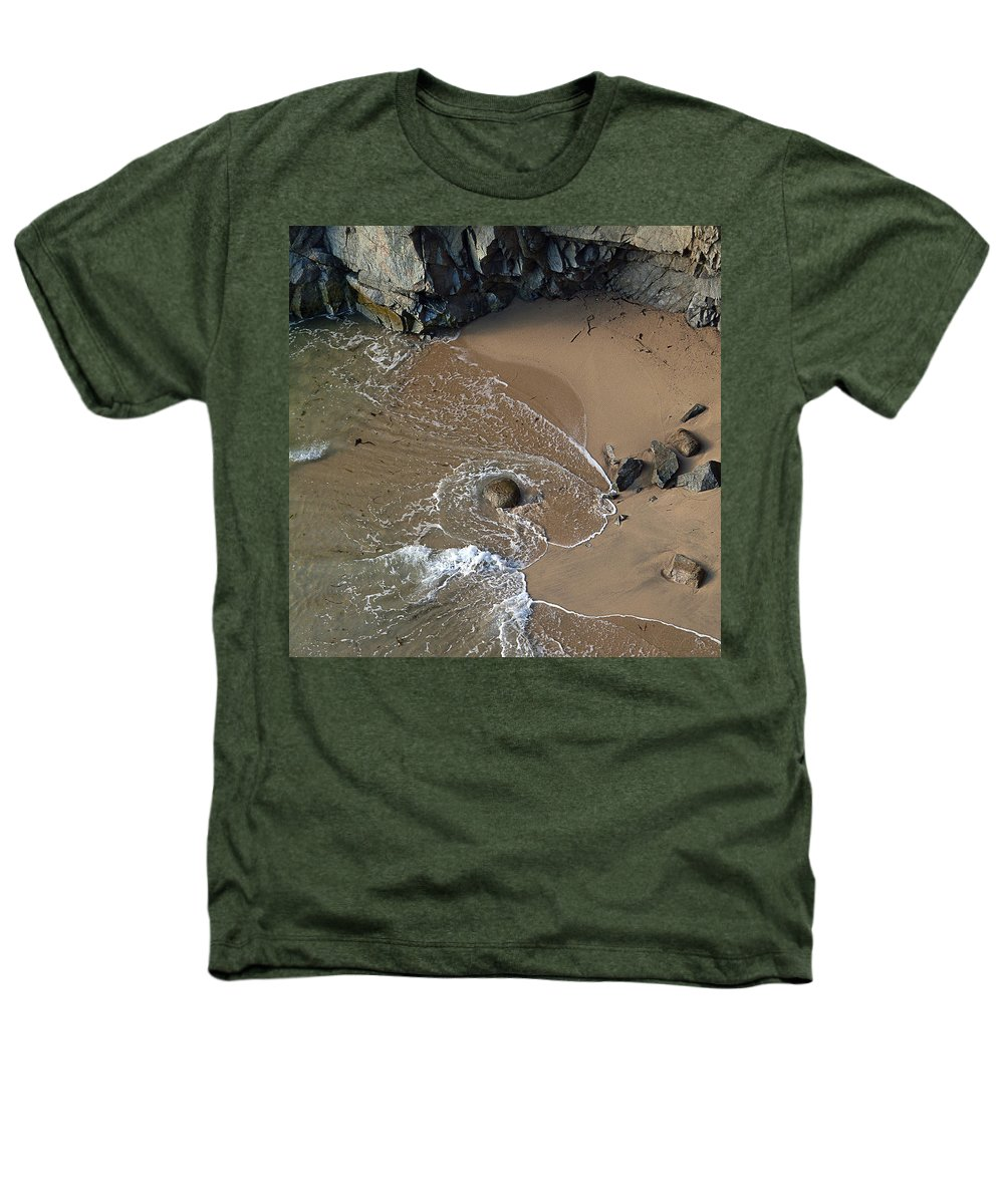 Big Sur Heathers T-Shirt featuring the photograph Swirling Surf And Rocks by Charlene Mitchell