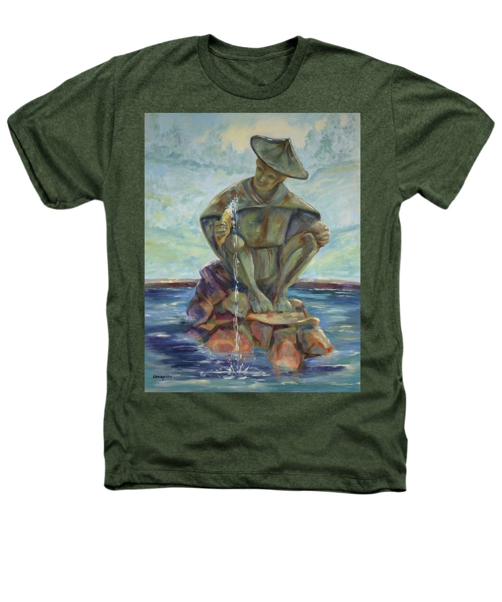 Landscape Heathers T-Shirt featuring the painting Taipei Fountain by Ginger Concepcion