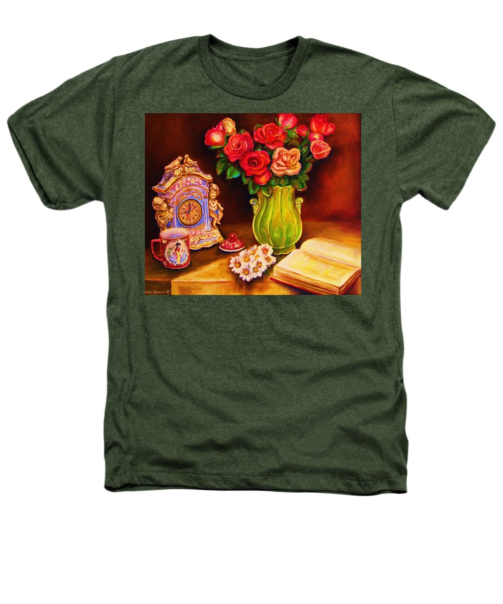 Impressionism Heathers T-Shirt featuring the painting Teacup And Roses by Carole Spandau