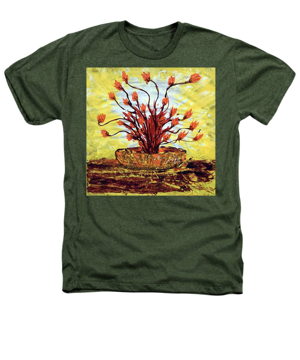 Red Bush Heathers T-Shirt featuring the painting The Burning Bush by J R Seymour