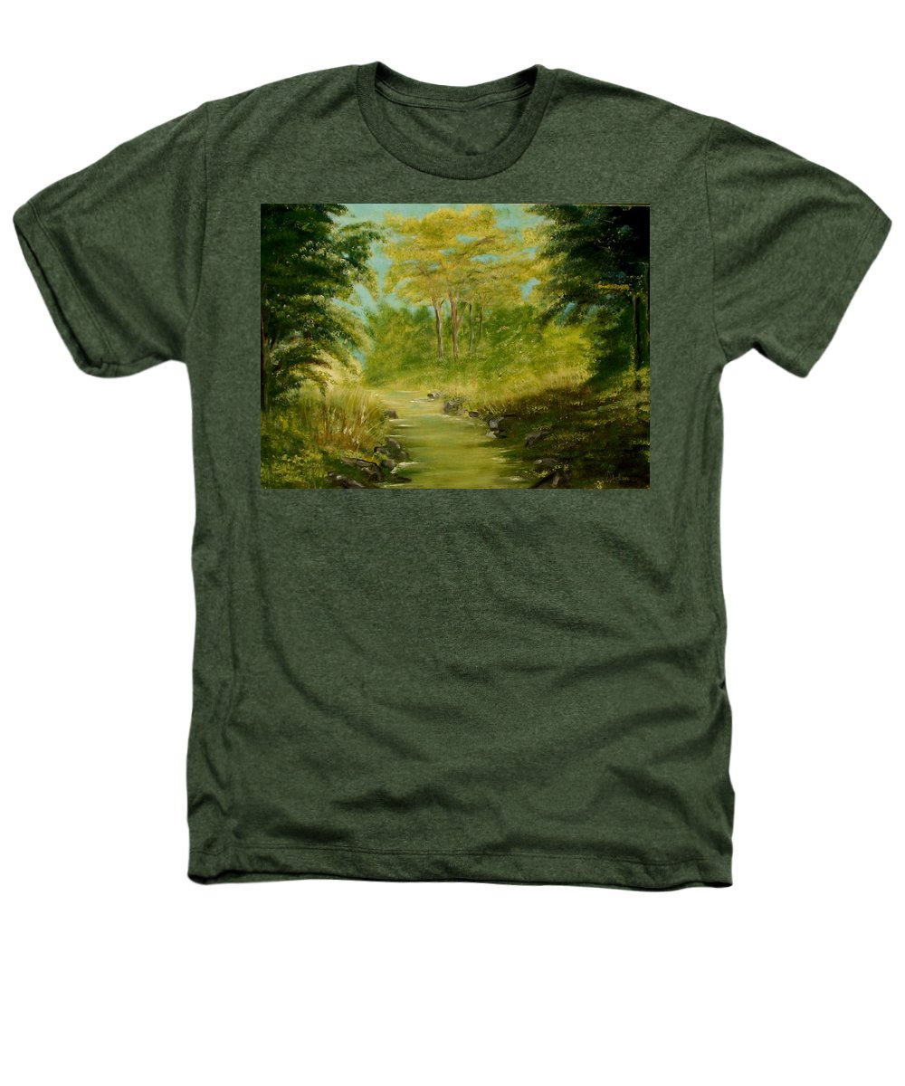Water River Creek Nature Trees Landscape Heathers T-Shirt featuring the painting The Creek by Veronica Jackson