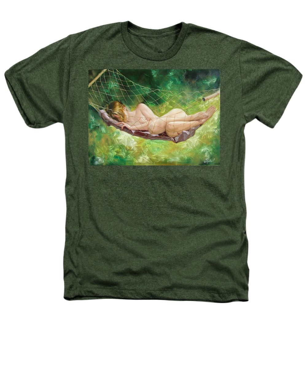 Oil Heathers T-Shirt featuring the painting The Dream In Summer Garden by Sergey Ignatenko