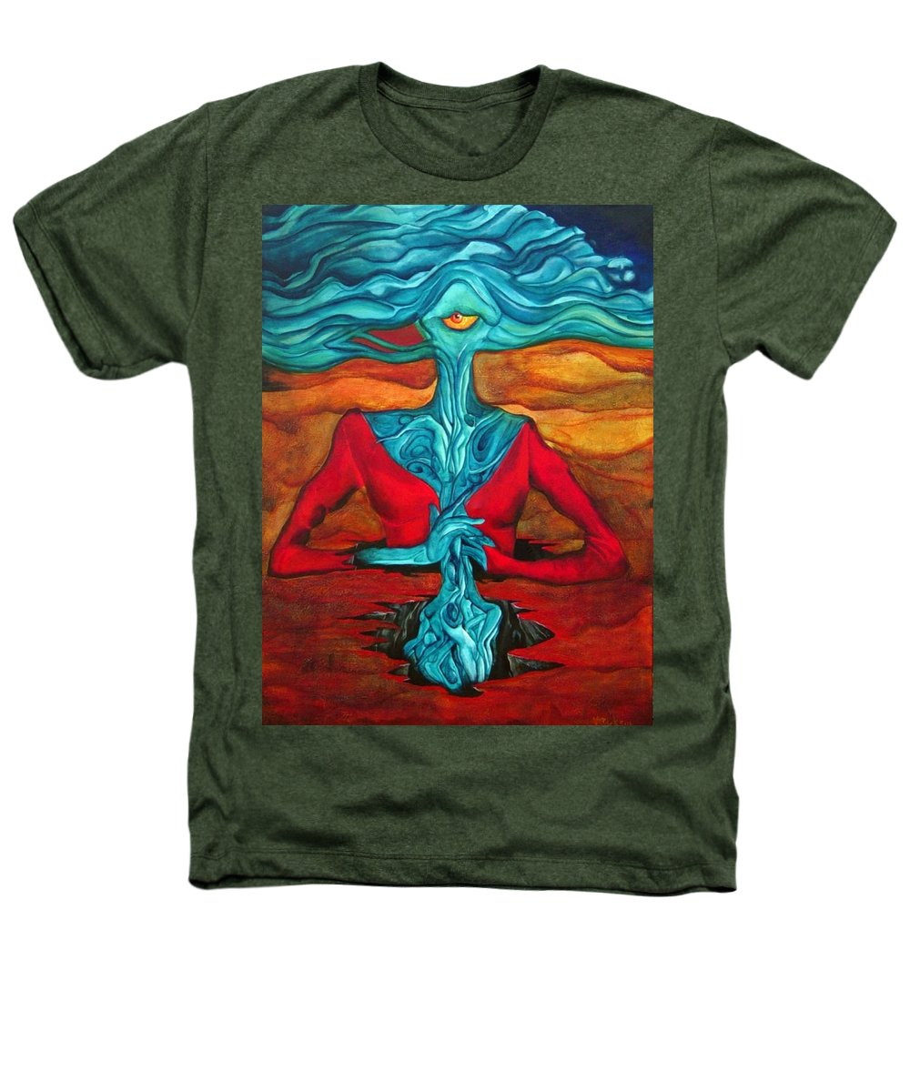 Feast Woman Blue Eye Eat Red Earth Heathers T-Shirt featuring the painting The Feast by Veronica Jackson